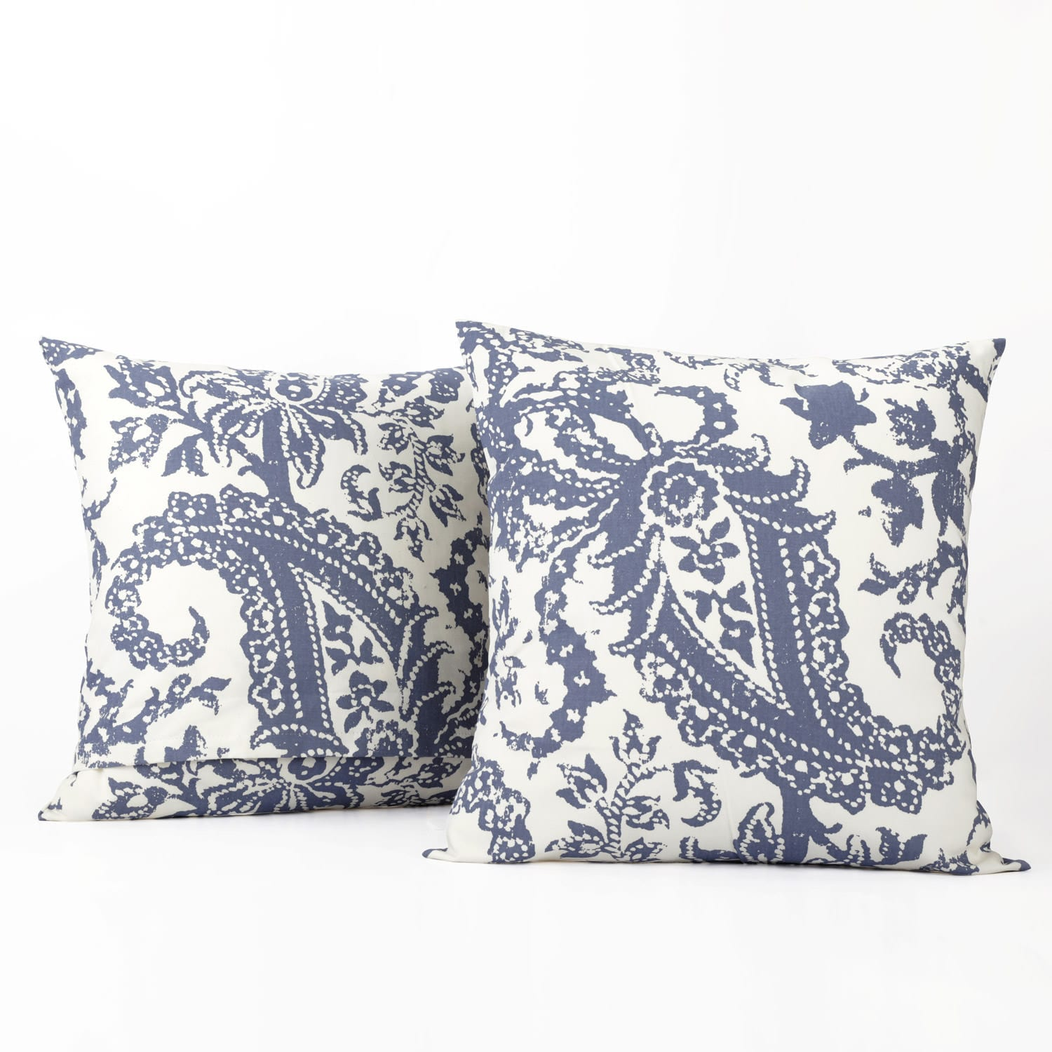 Edina Washed Blue Printed Cotton Cushion Covers - PAIR