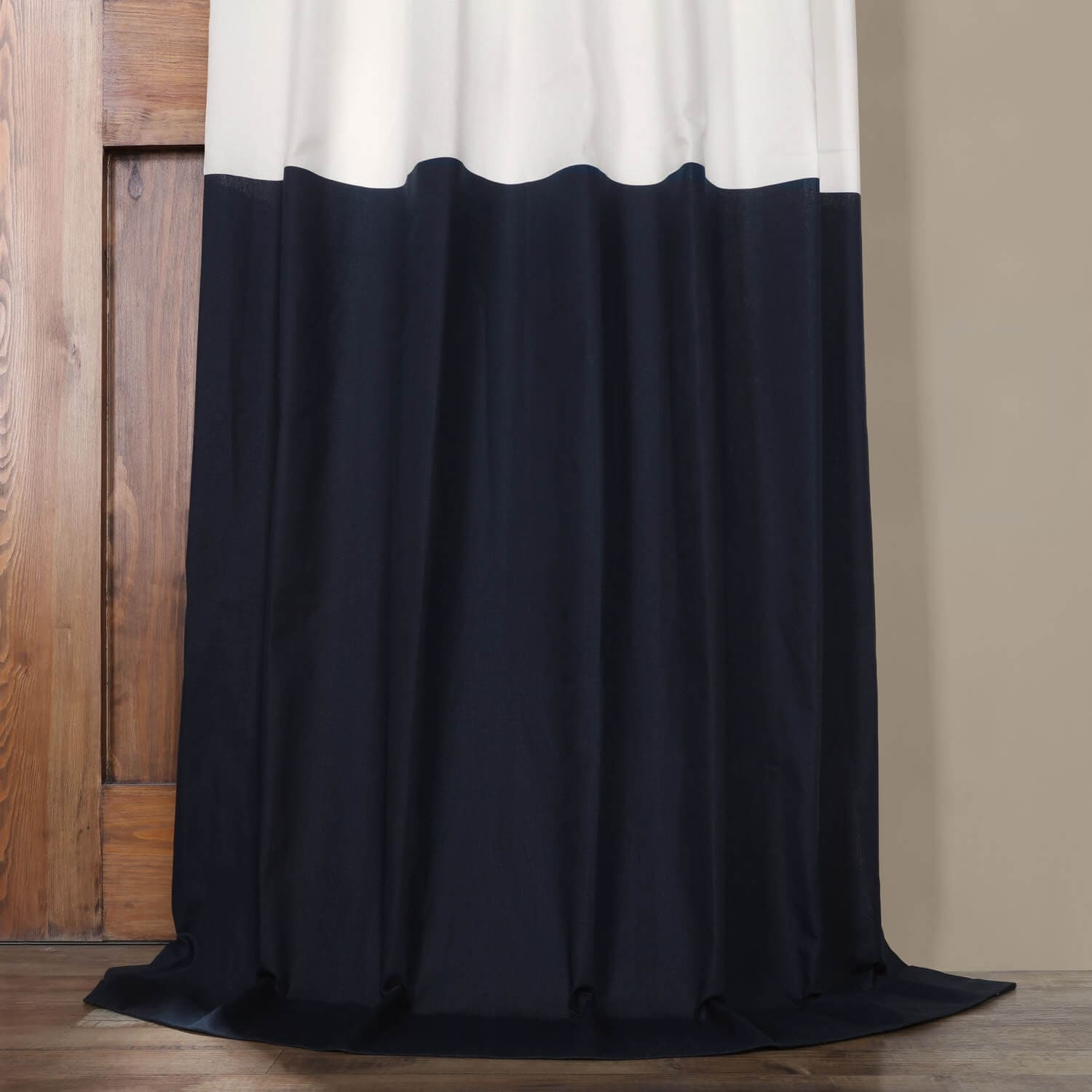Fresh Popcorn and Polo Navy Horizontal Colorblock Panama Curtain
