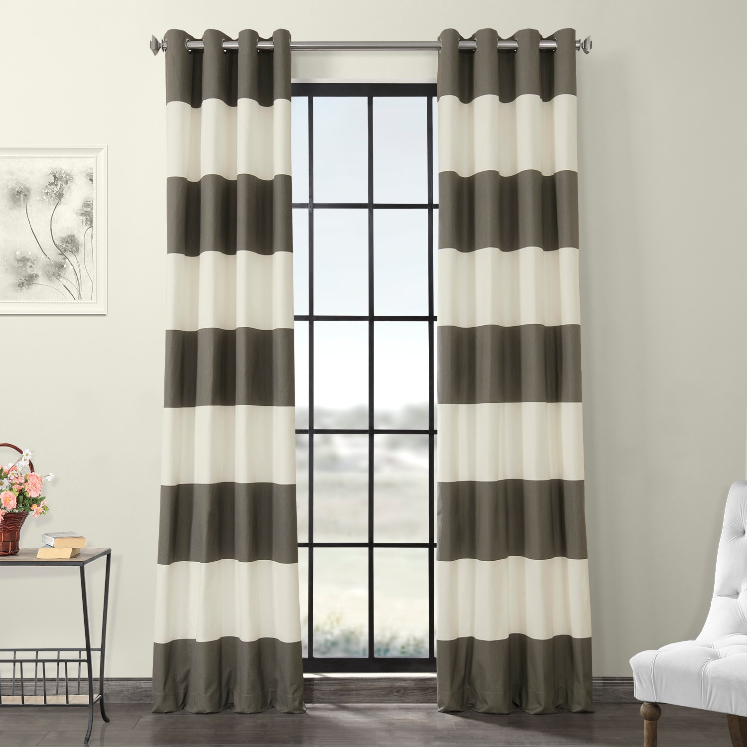 Slate Grey & Off White Horizontal Grommet Stripe Cotton Curtain