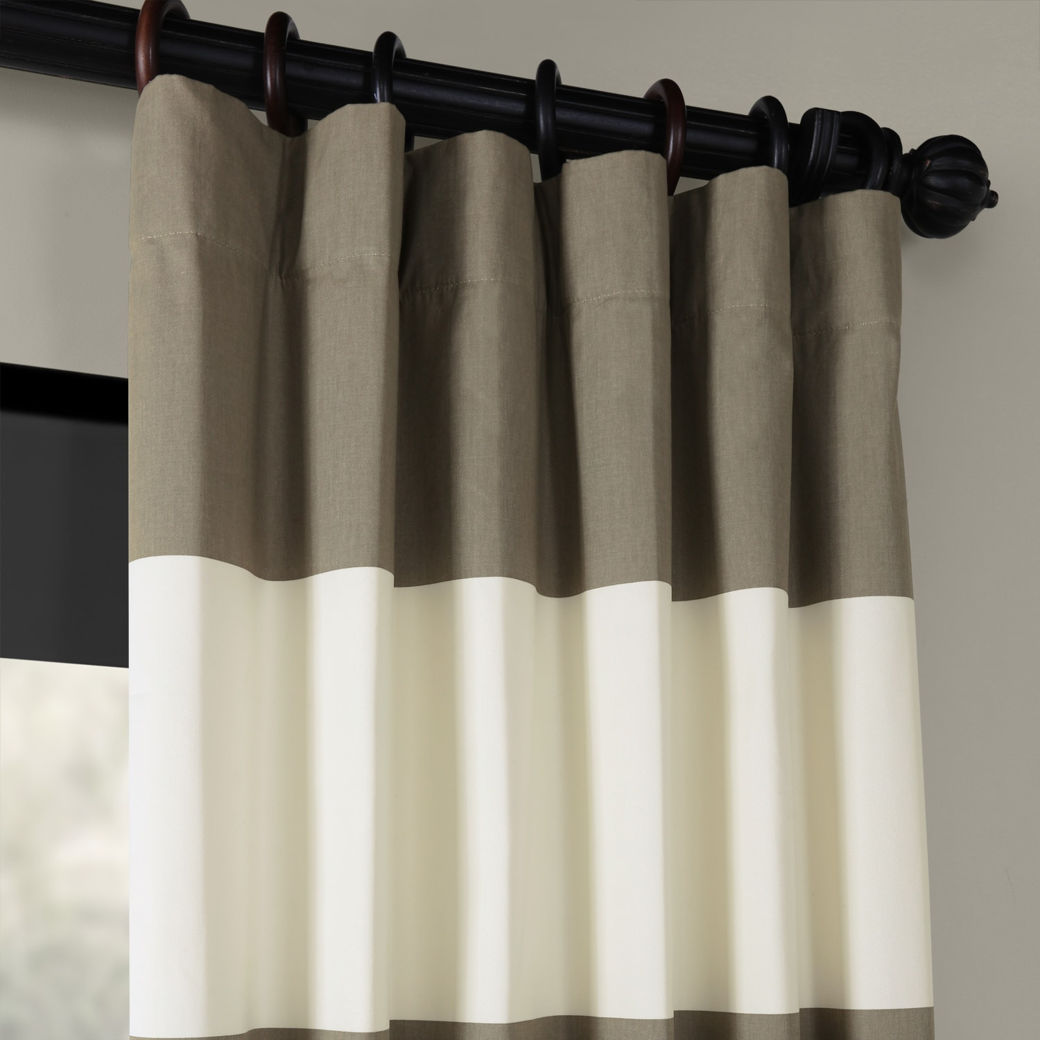 Thunder Tan & Off White Horizontal Stripe Curtain