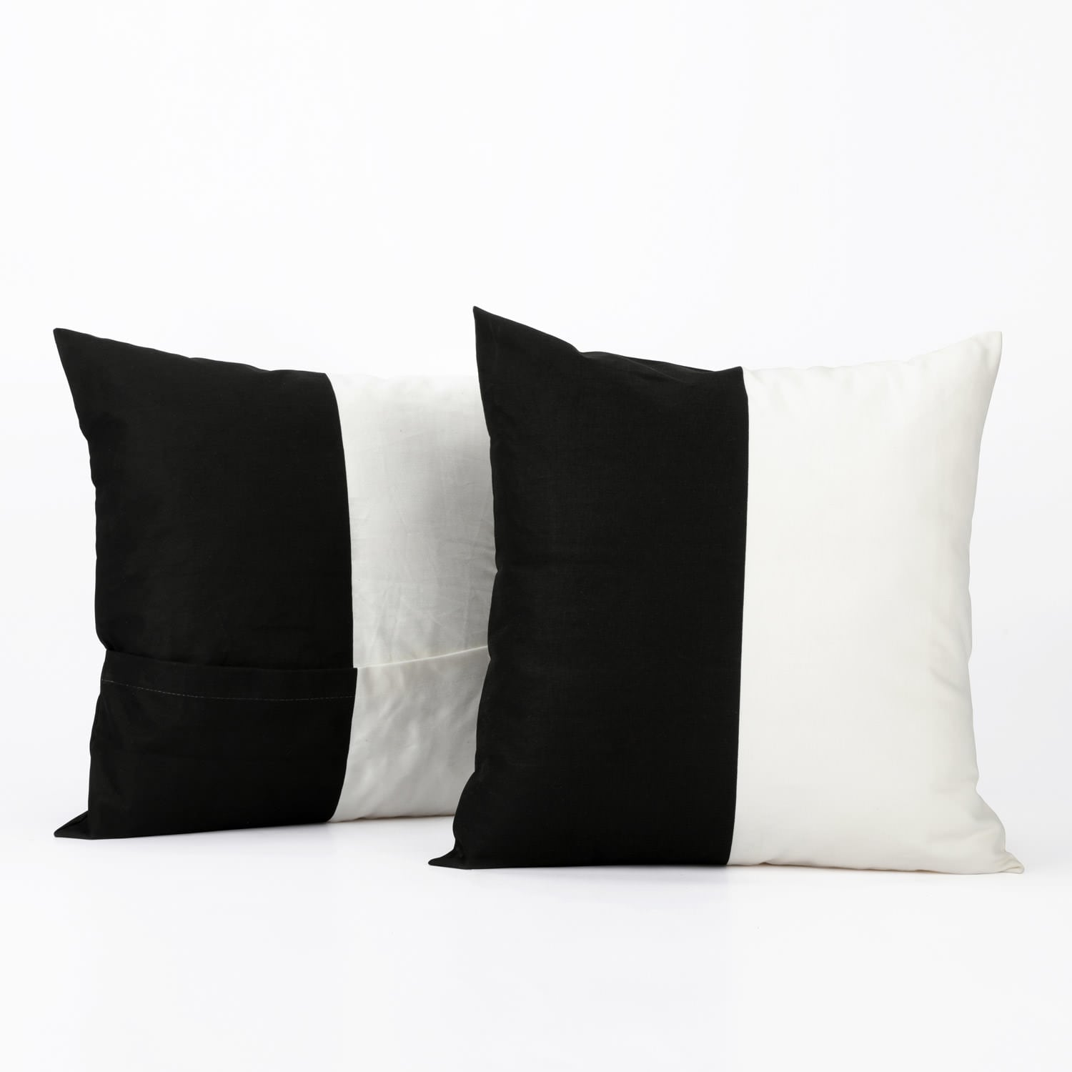 Onyx Black & Off White Horizontal Stripe Cotton Cushion Covers - PAIR