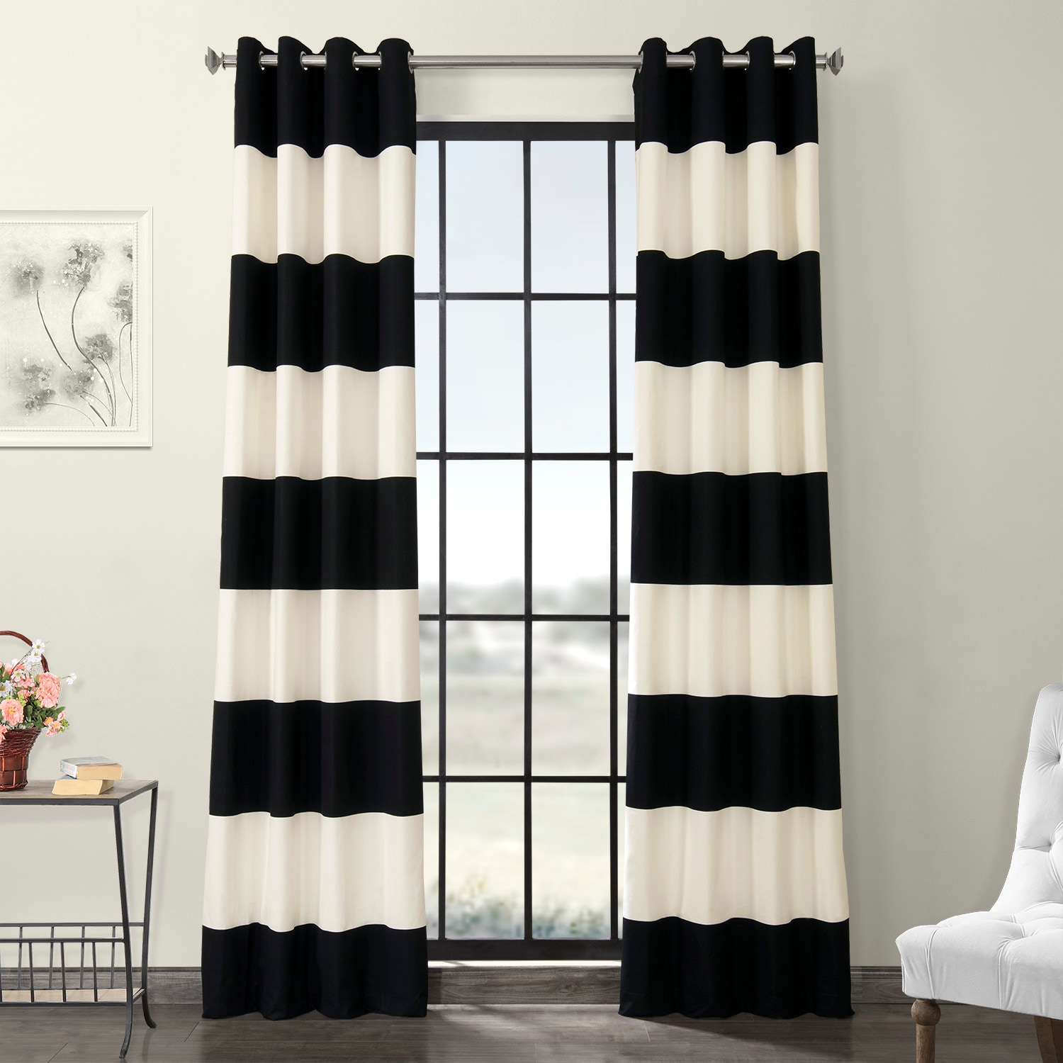 Onyx Black & OffWhite Horizontal Grommet Stripe Cotton Curtain