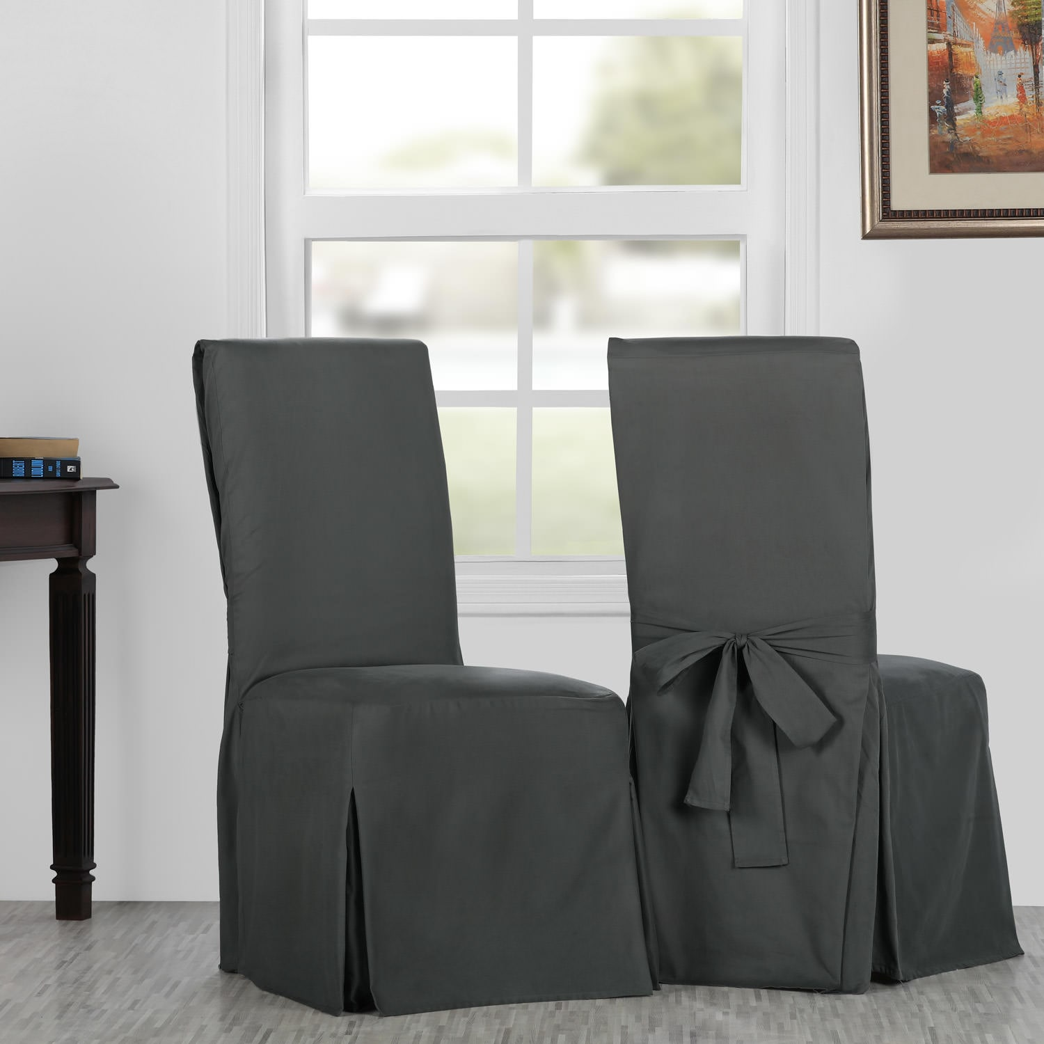 Millstone Gray Solid Cotton Twill Chair Covers