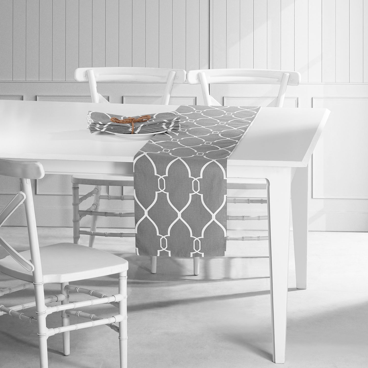 Aiden Gray Printed Cotton Table Runner & Placemats