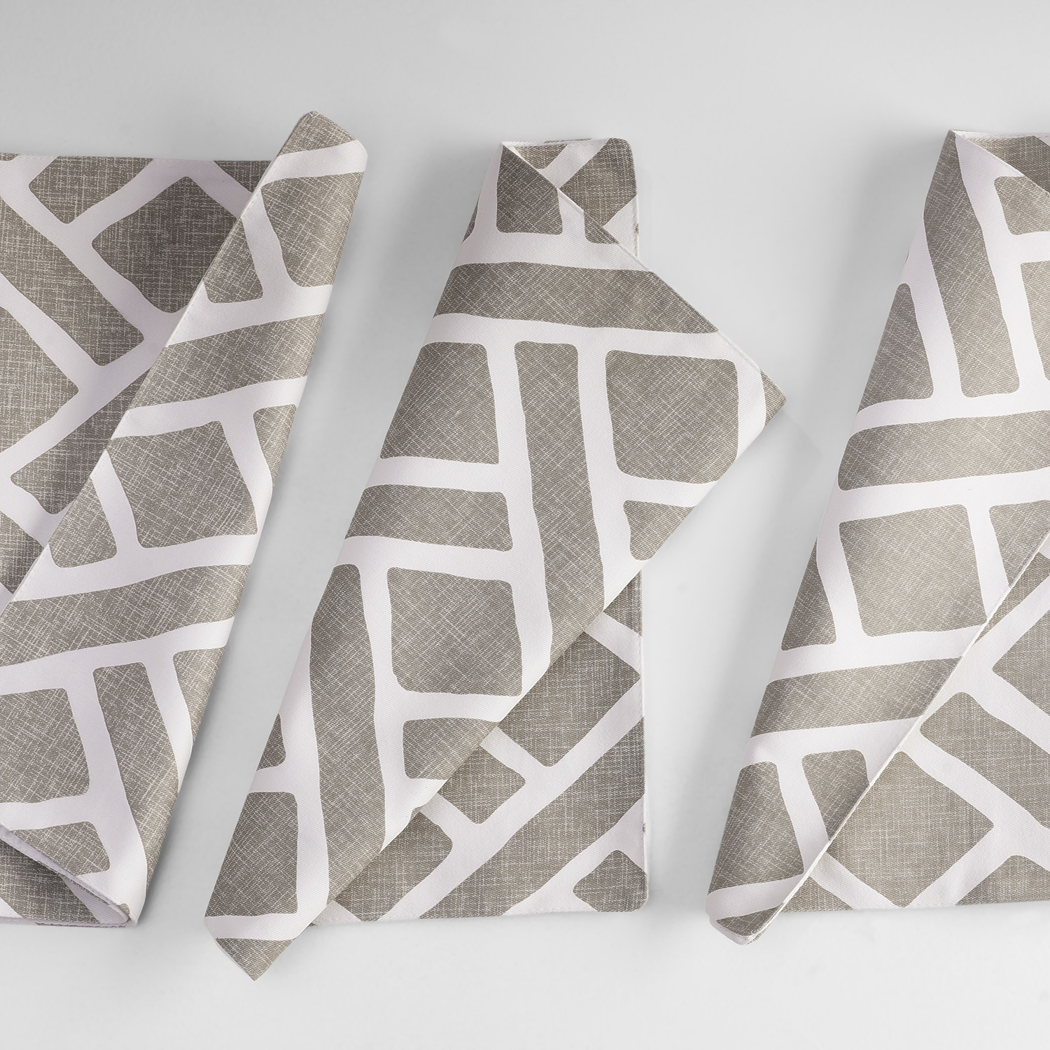 Martinique Taupe Printed Cotton Table Runner & Placemats