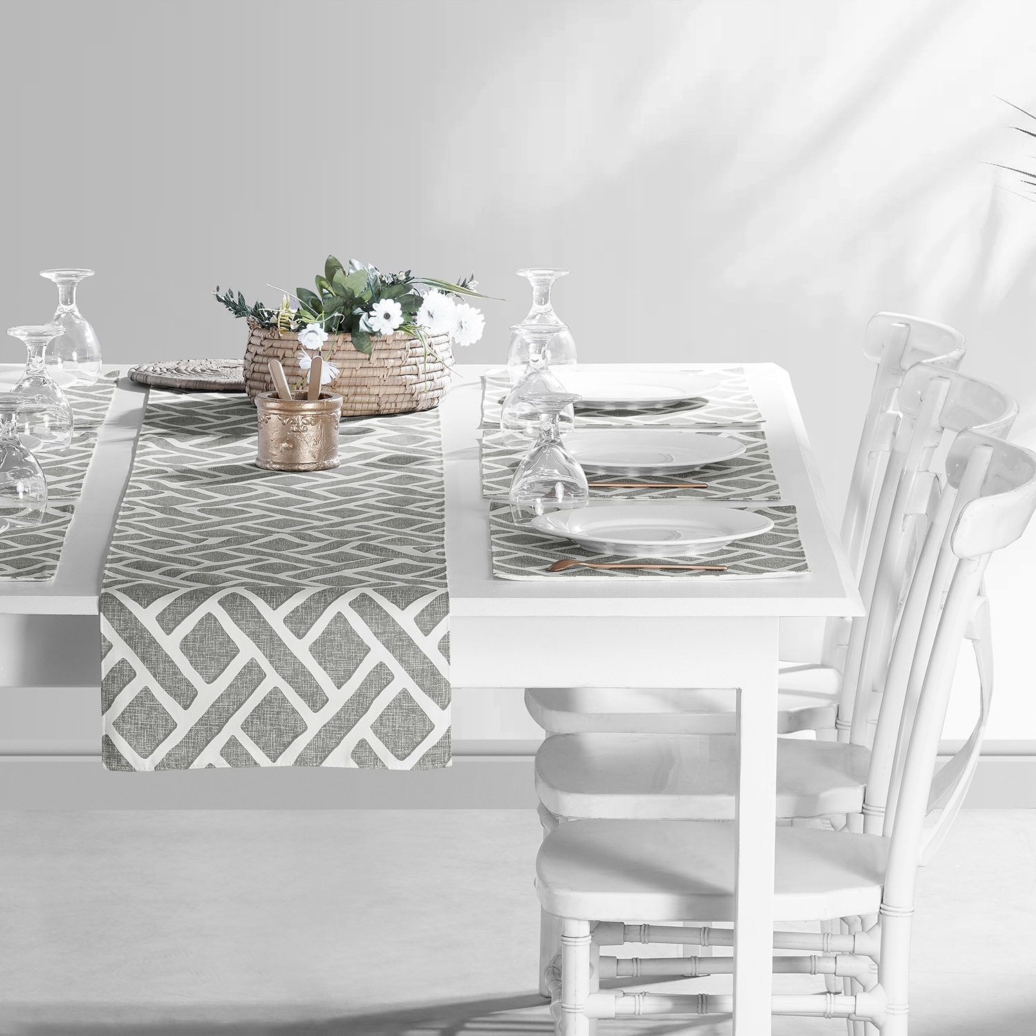 Martinique Grey Printed Cotton Table Runner & Placemats