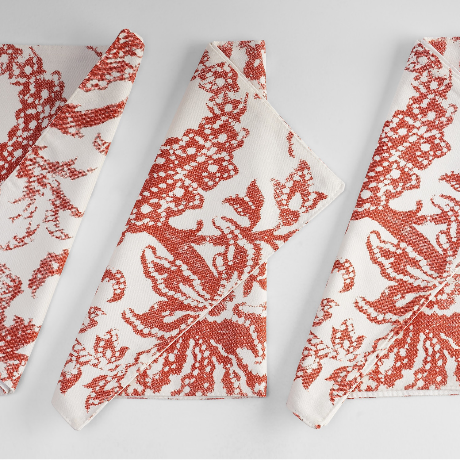 Edina Rust Printed Cotton Table Runner & Placemats