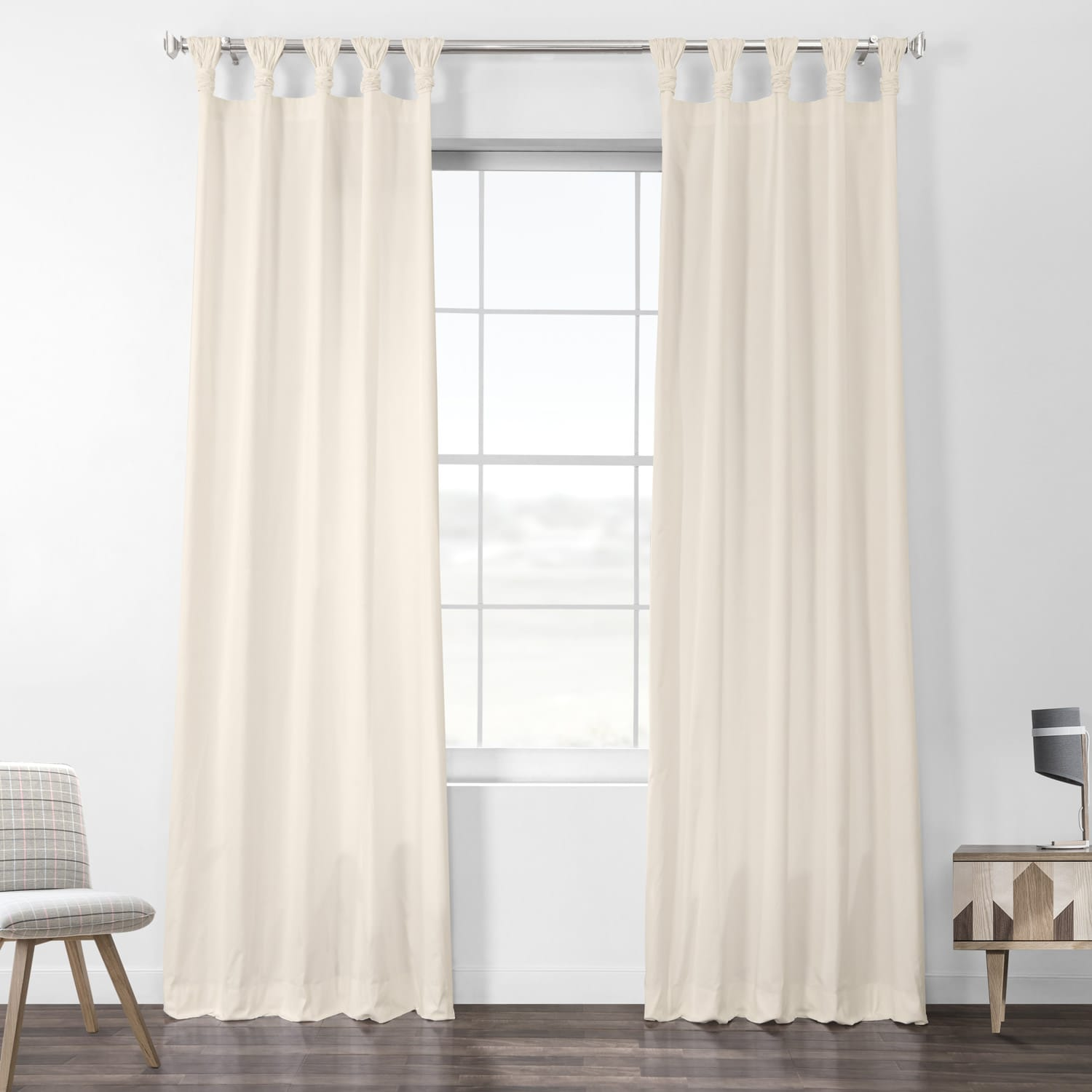 Fresh Popcorn Solid Cotton Deluxe Tab Top Curtain