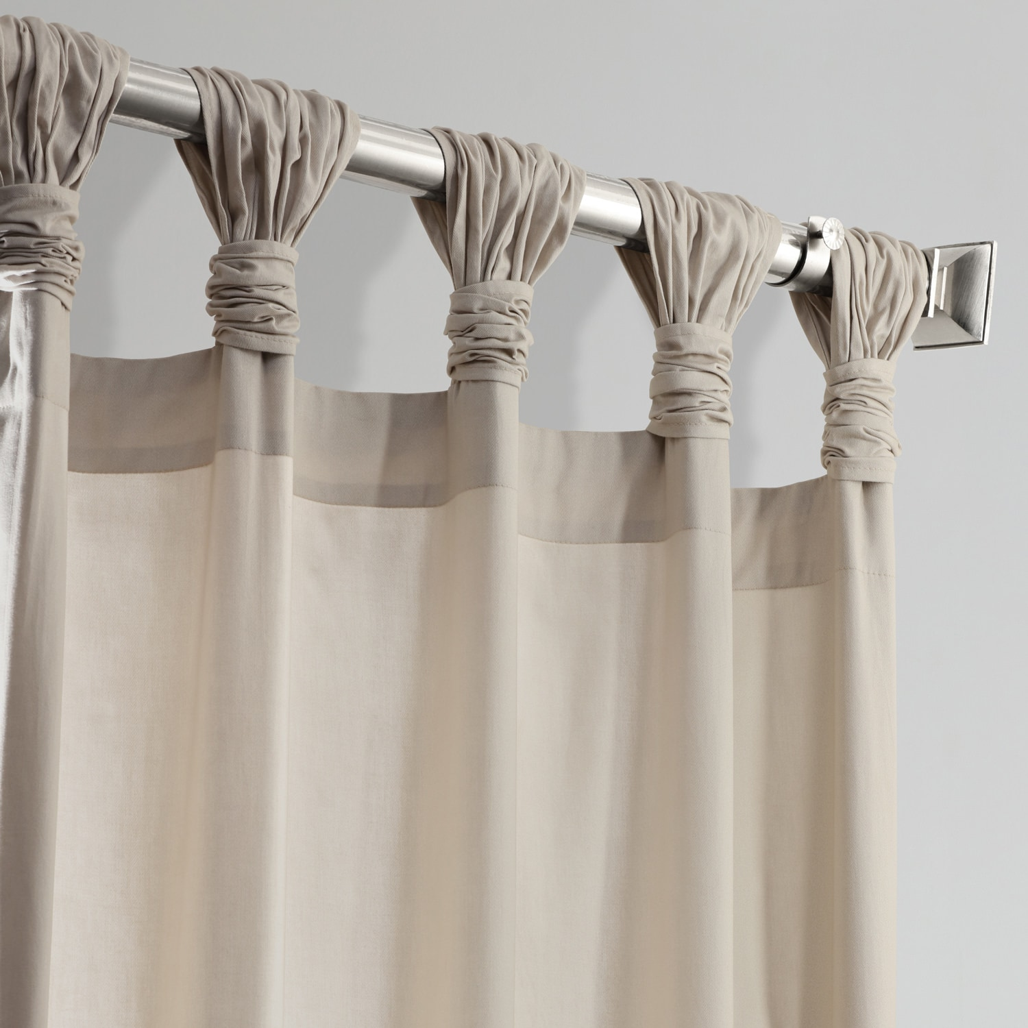 Hazelwood Beige Solid Cotton Deluxe Tab Top Curtain