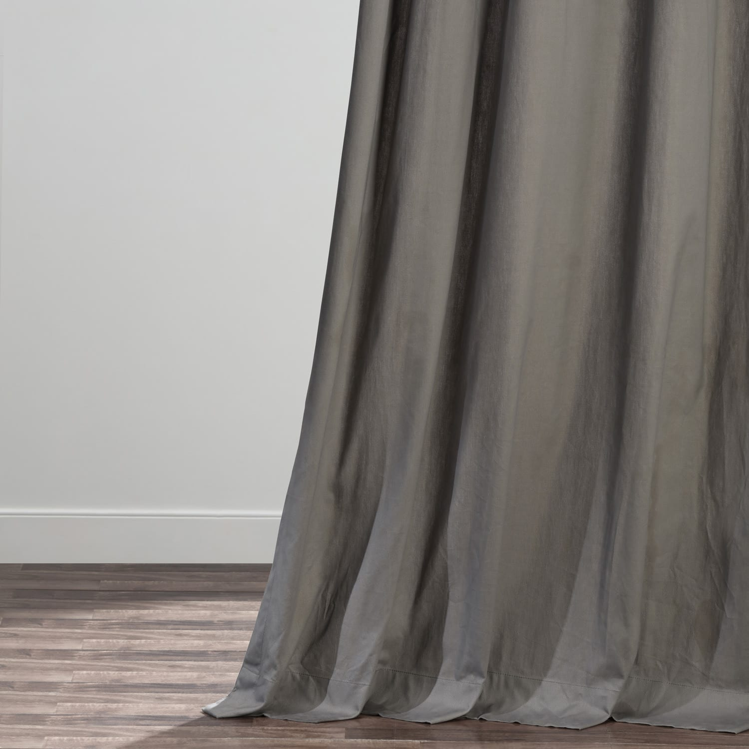 Millstone Gray Solid Cotton Deluxe Tab Top Curtain