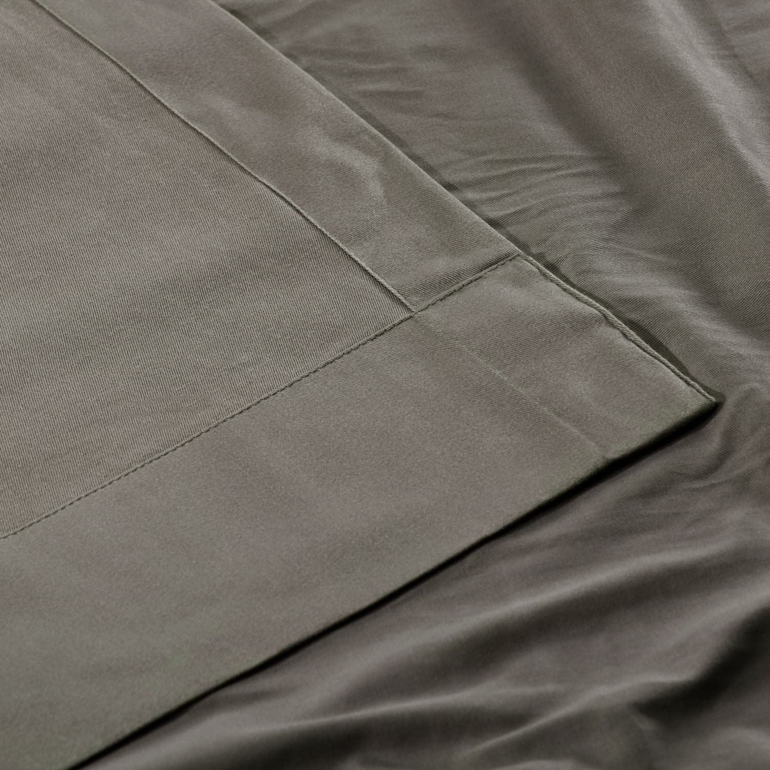 Millstone Gray Solid Cotton Pleated Curtain