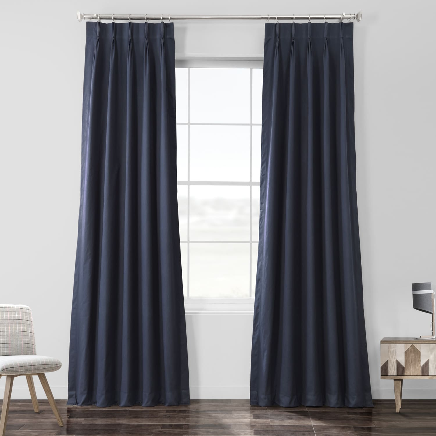 Polo Navy Solid Cotton Pleated Curtain
