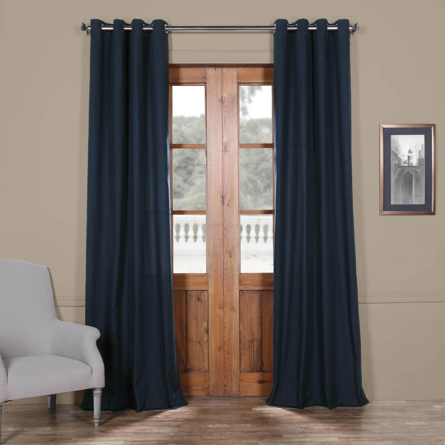 Polo Navy Solid Cotton Grommet Curtain