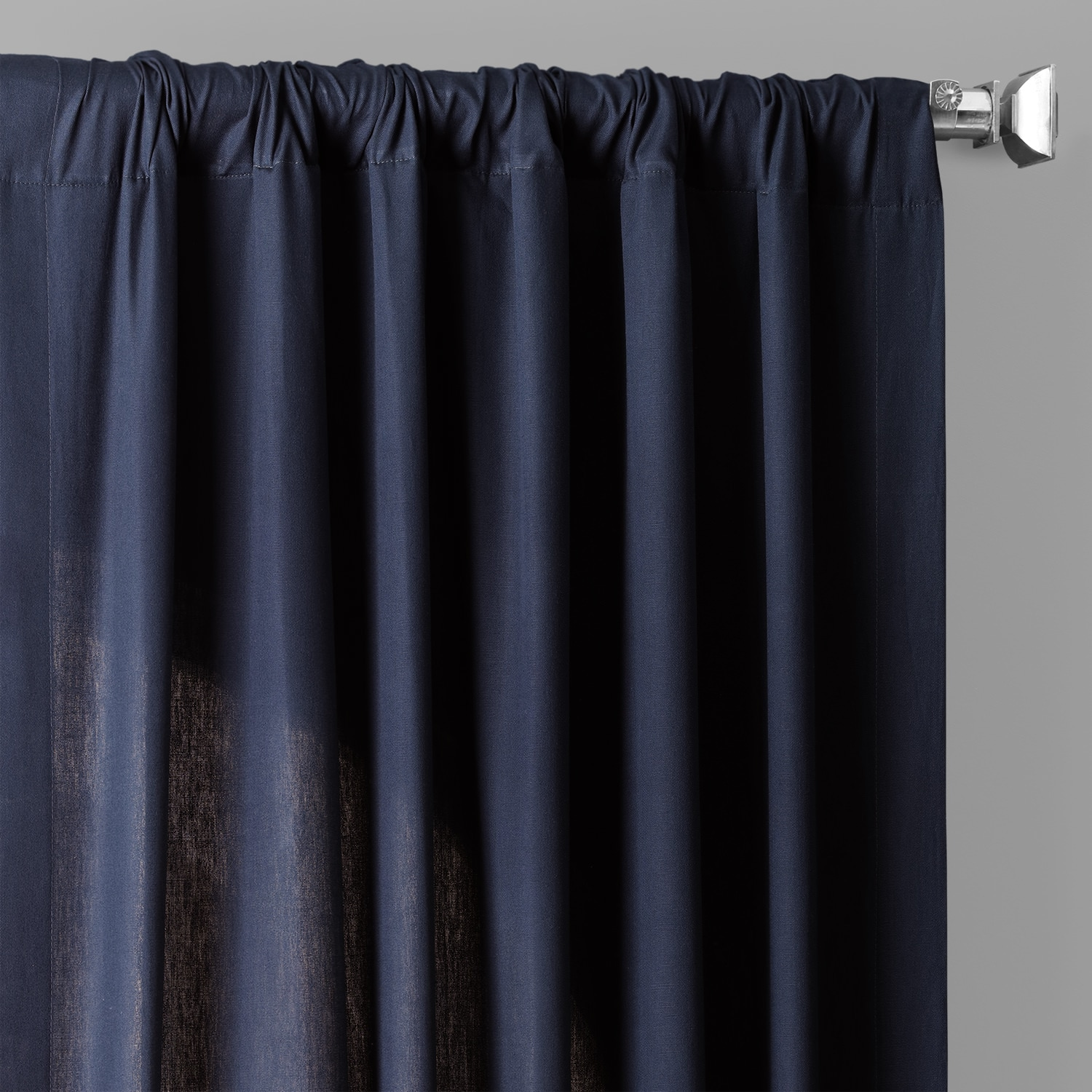 Polo Navy Solid Cotton Curtain