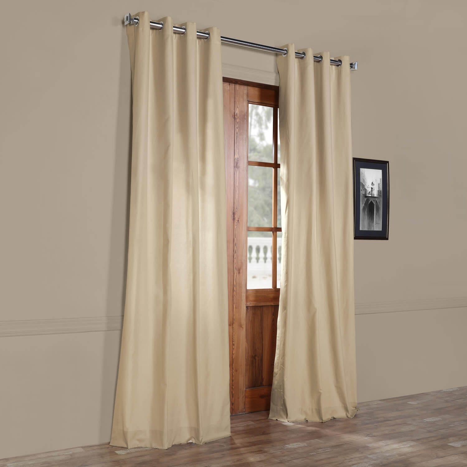 Shaker Beige Solid Cotton Grommet Curtain