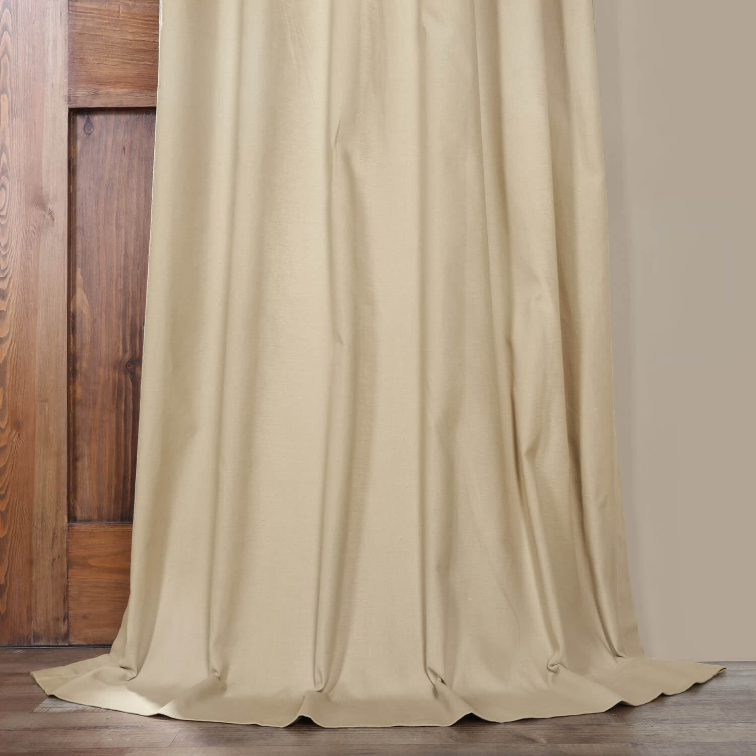 Shaker Beige Solid Cotton Curtain