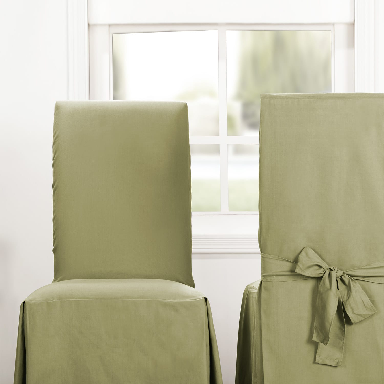 Mountain Moss Solid Cotton Chair Covers (Sold As Pair)