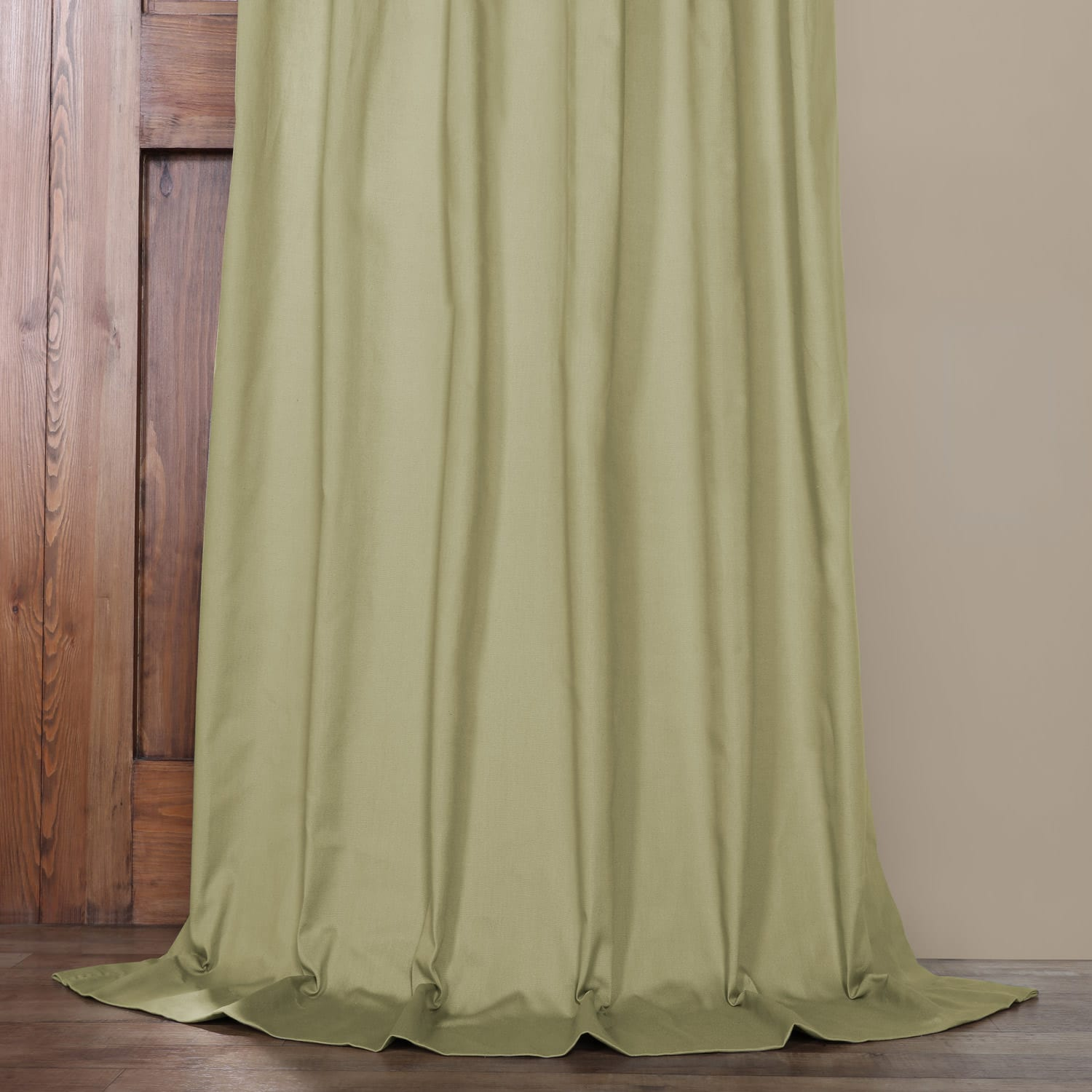 Mountain Moss Solid Cotton Tie-Top Curtain