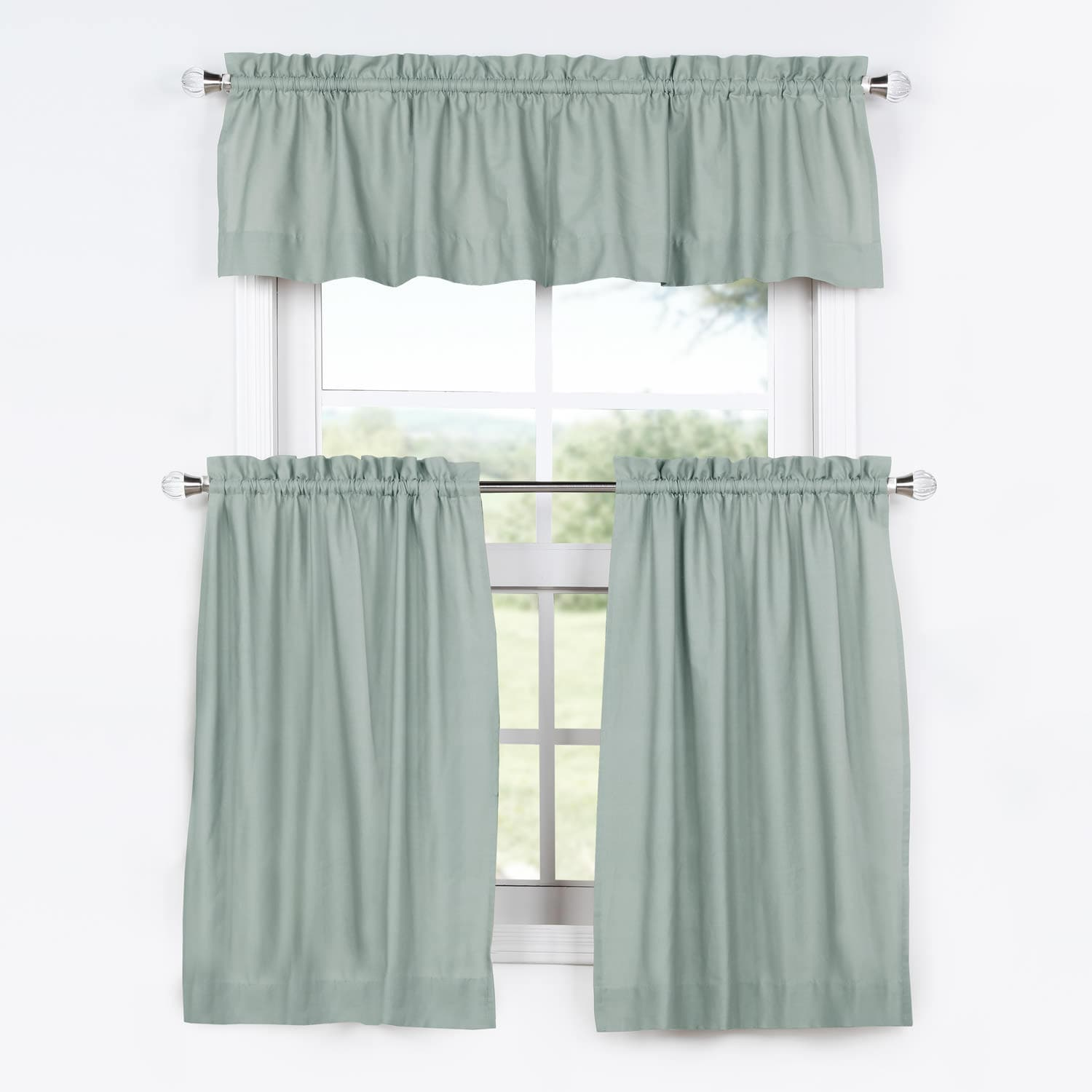 Jasper Stone Solid Cotton Kitchen Tier Curtain & Valance Set (3pc)