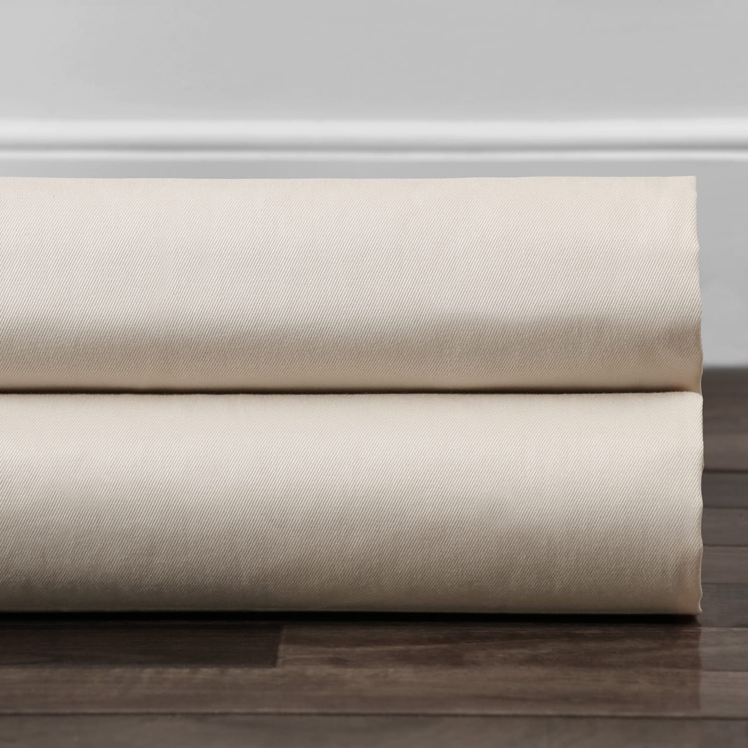 English Cream Solid Cotton Deluxe Tab Top Curtain