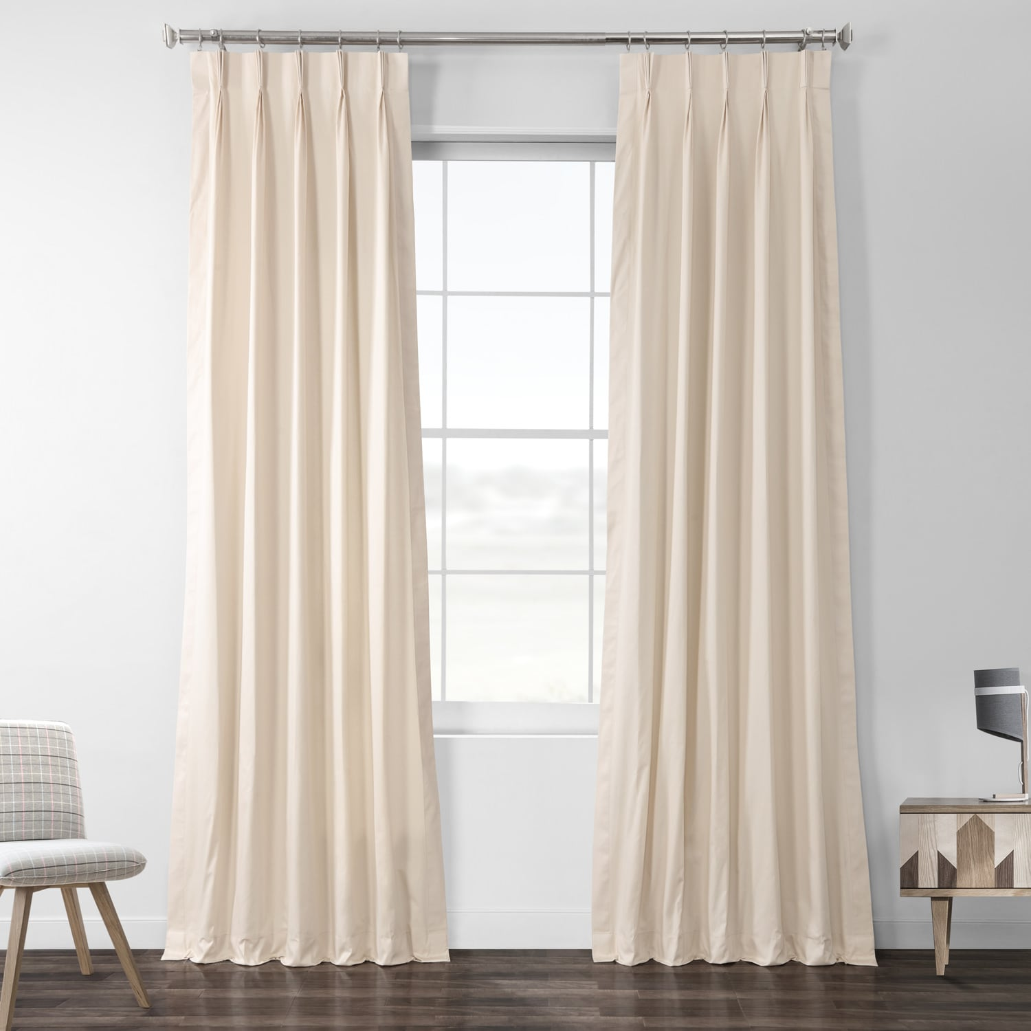 English Cream Solid Cotton Pleated Curtain
