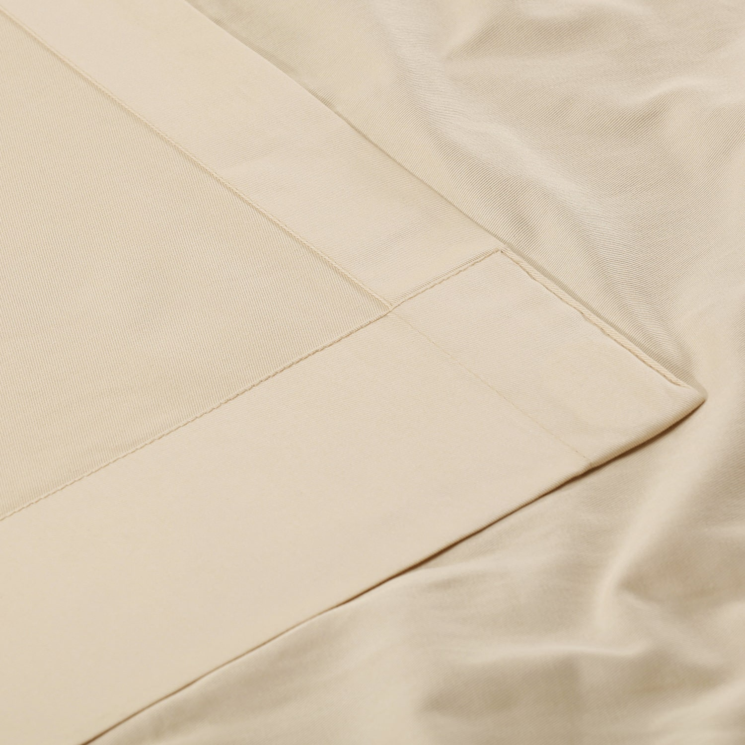 English Cream Solid Cotton Tie-Top Curtain