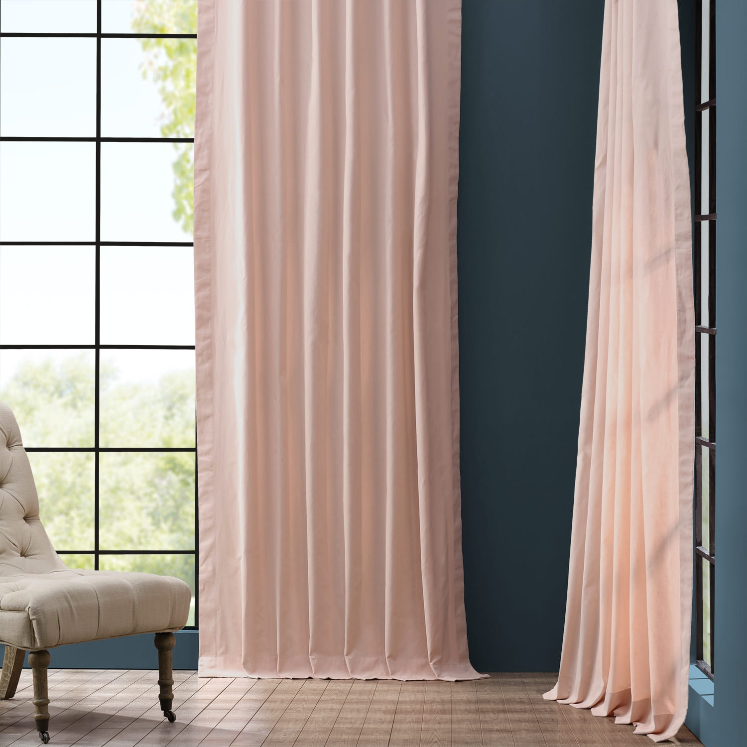 Lullaby Pink Solid Cotton Curtain