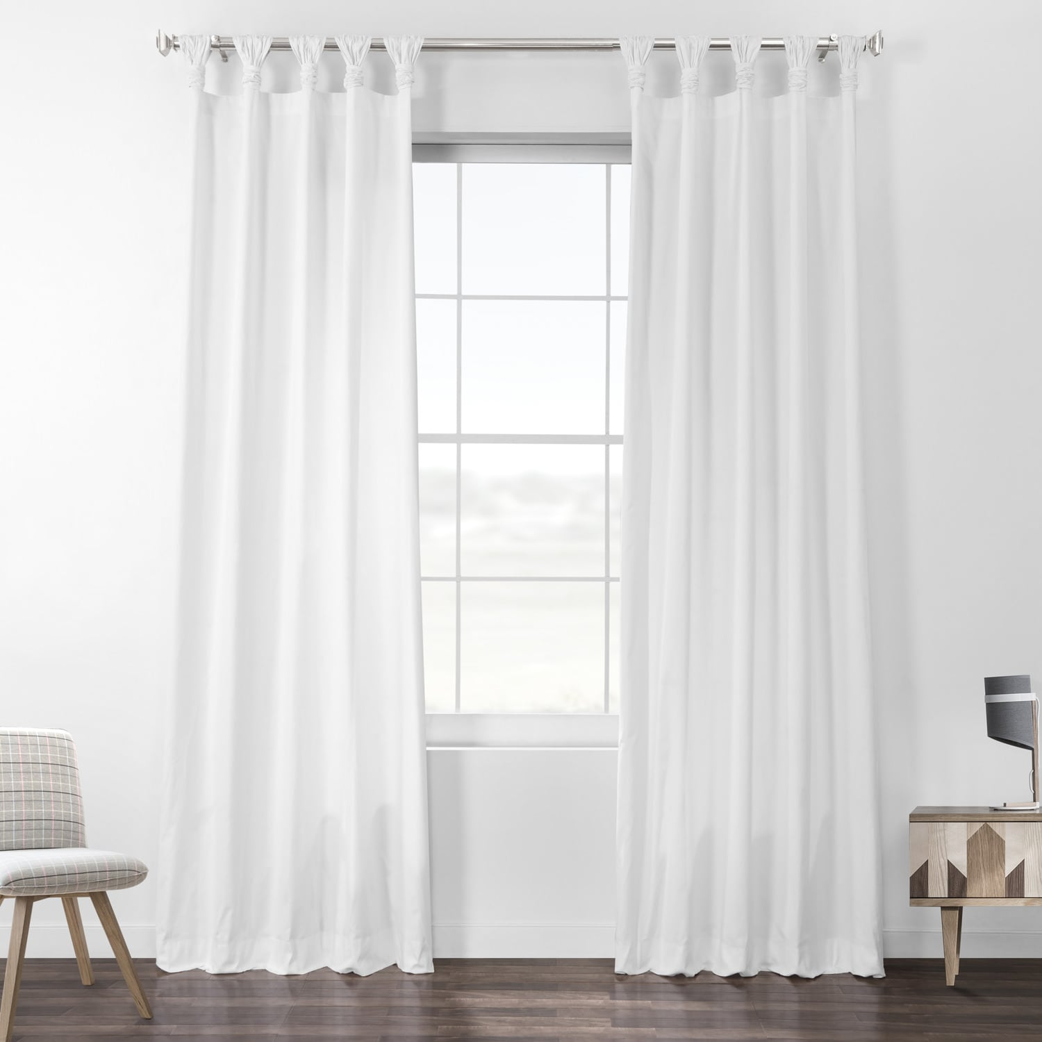 Whisper White Solid Cotton Deluxe Tab Top Curtain