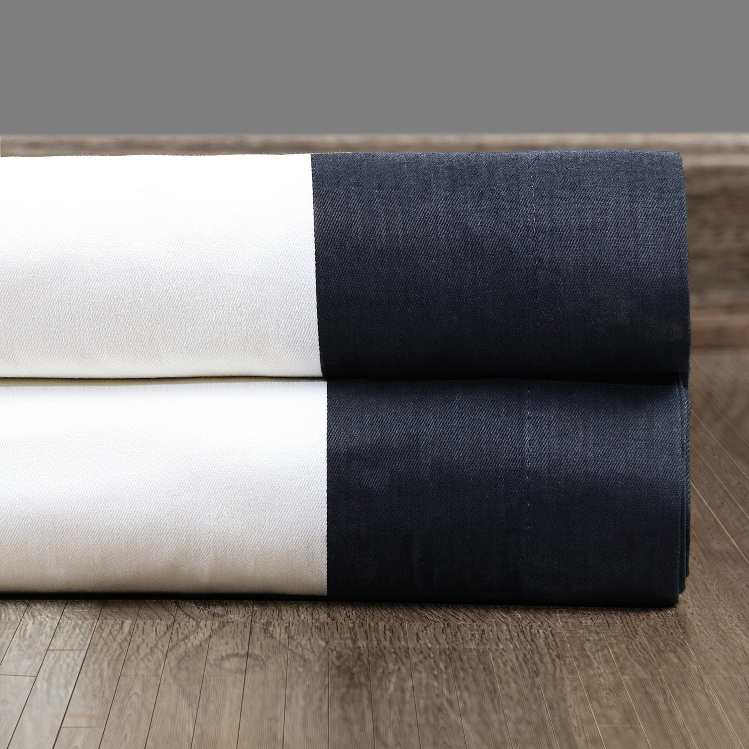 Fresh Popcorn and Polo Navy Vertical Colorblock Panama Fabric