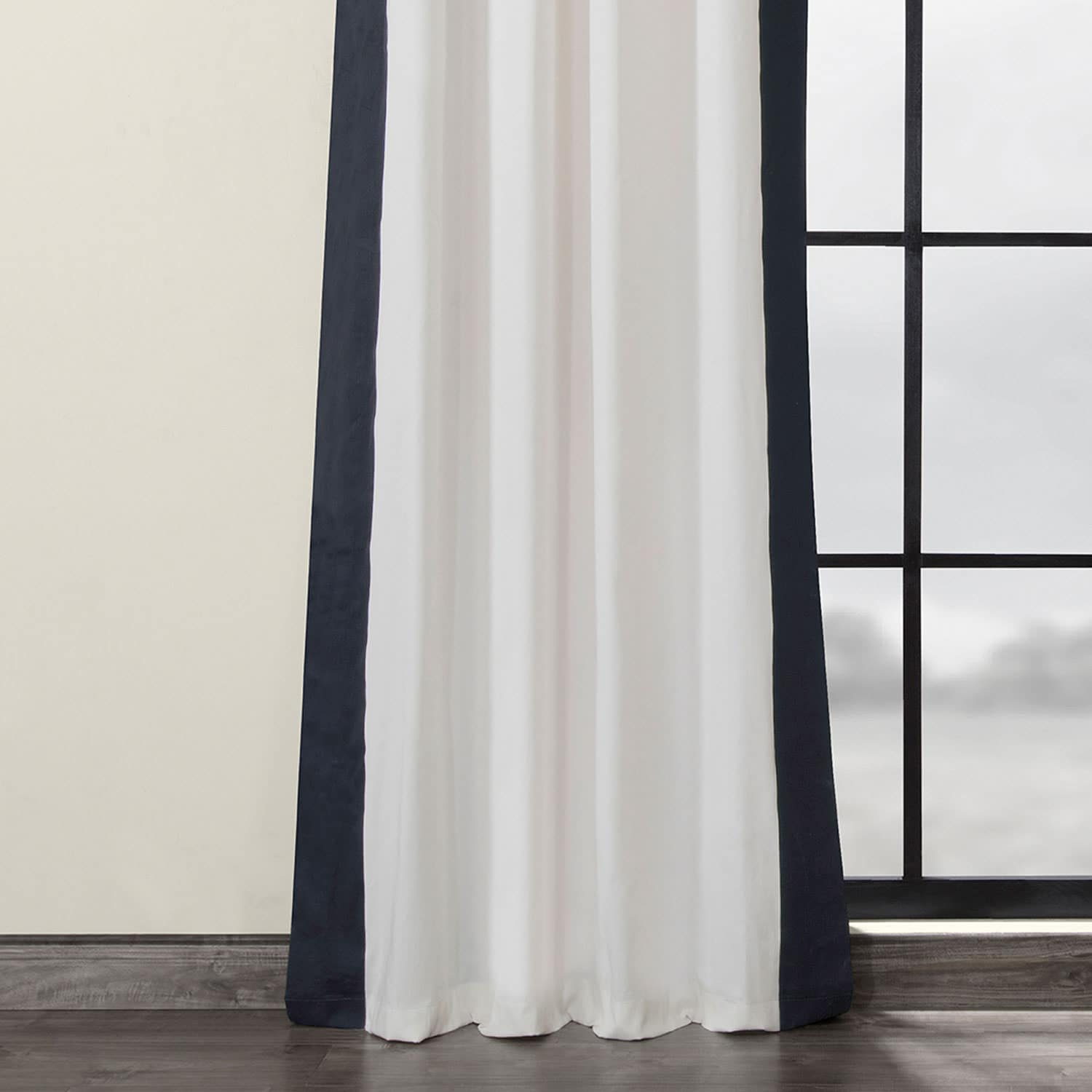 Fresh Popcorn and Polo Navy Grommet Vertical Colorblock Curtain