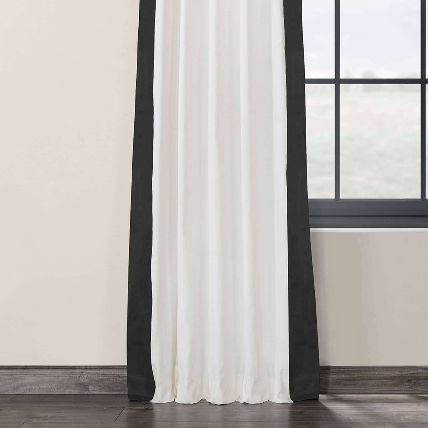 Fresh Popcorn and Millstone Grey Pleated Vertical Colorblock Curtain