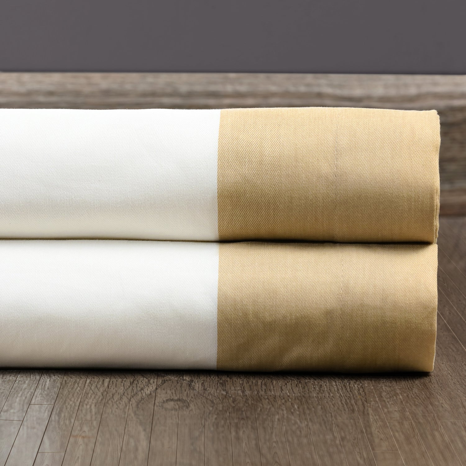 Fresh Popcorn and Shaker Beige Vertical Colorblock Panama Fabric