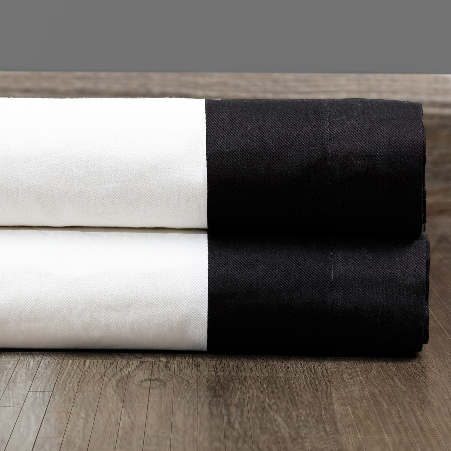 Fresh Popcorn and Black Vertical Colorblock Panama Fabric