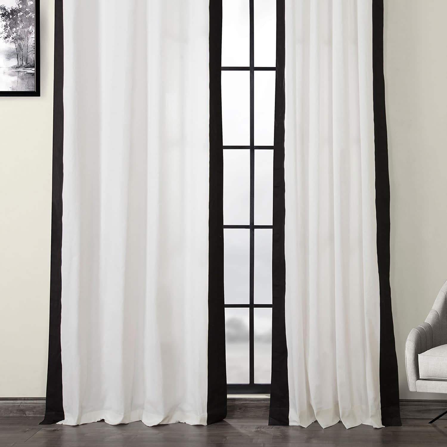 Fresh Popcorn and Black Grommet Vertical Colorblock Curtain