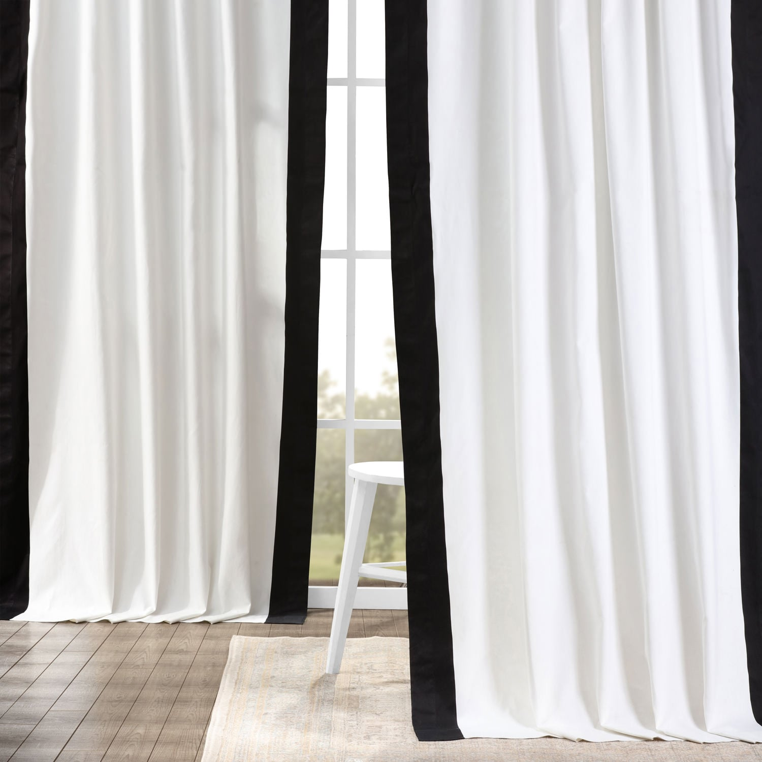 Fresh Popcorn and Black Vertical Colorblock Panama Curtain