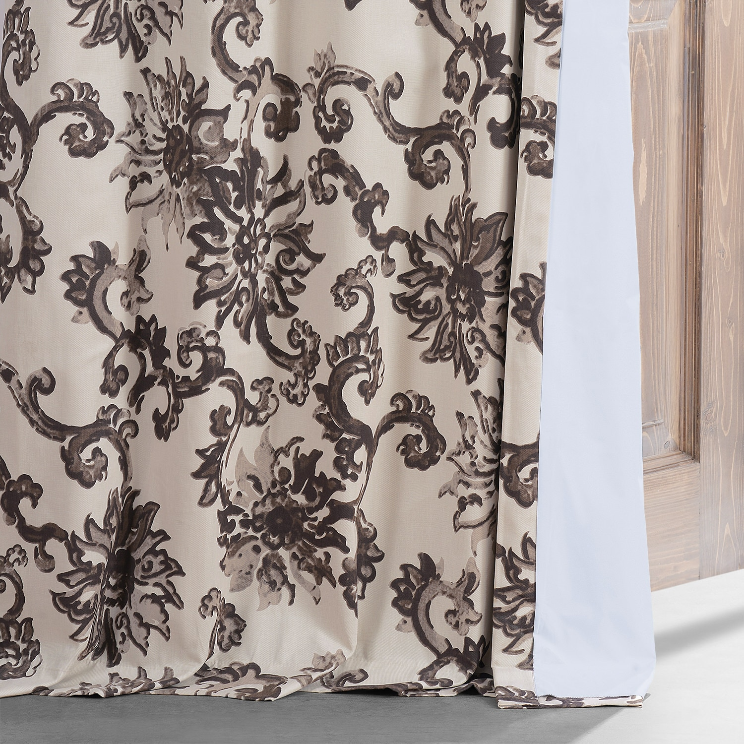 Indonesian Brown Printed Cotton Hotel Blackout Curtain