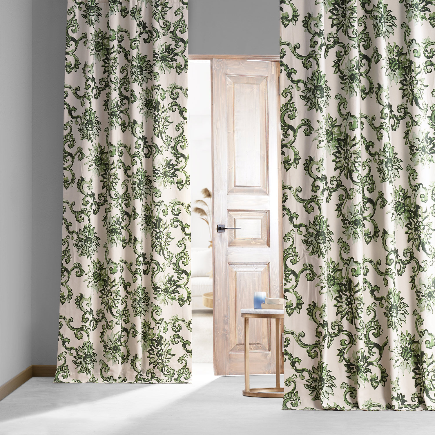 Indonesian Green Printed Cotton Hotel Blackout Curtain