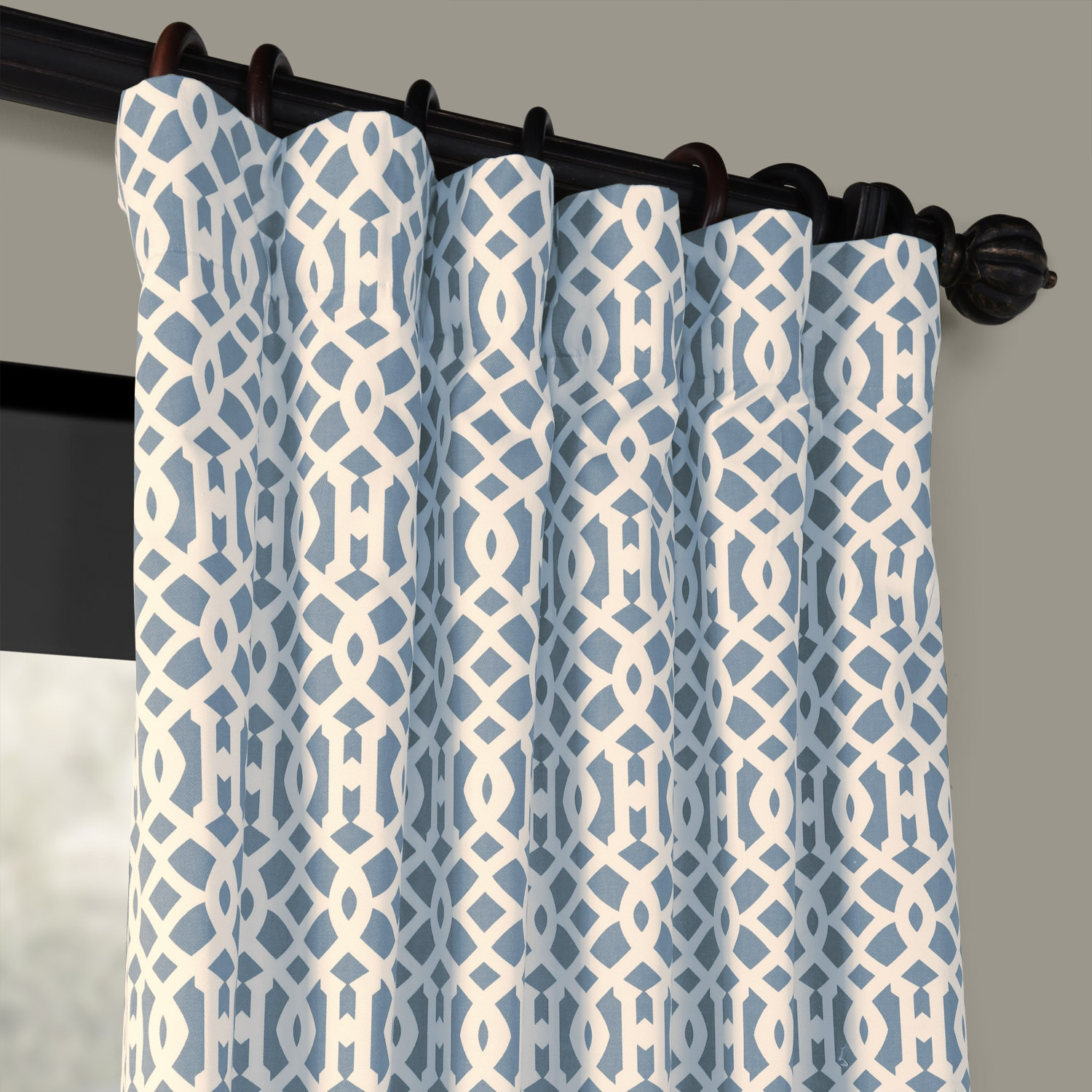 Nairobi Printed Cotton Curtains In Denim Blue Hpd