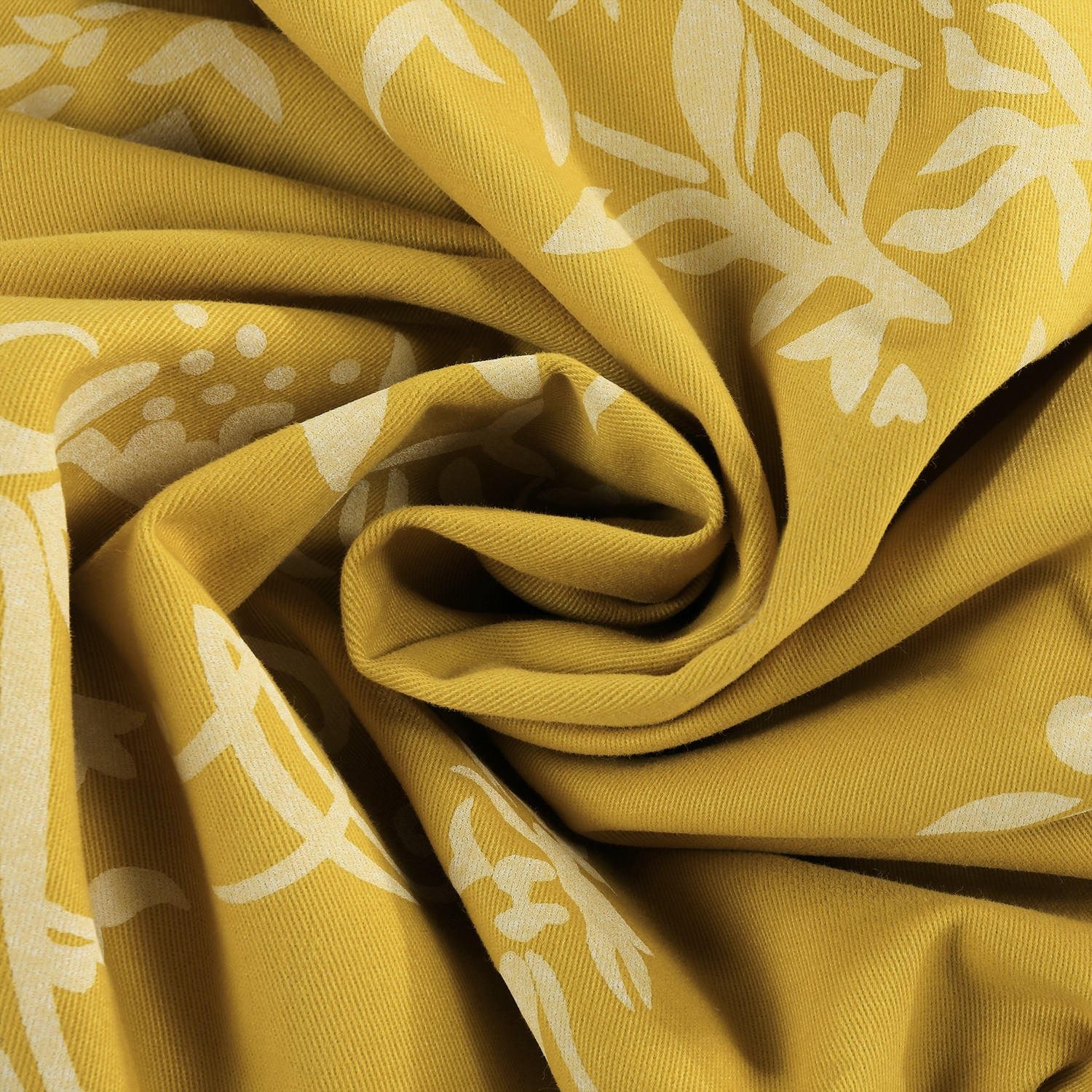 Isles Mustard Printed Cotton Fabric