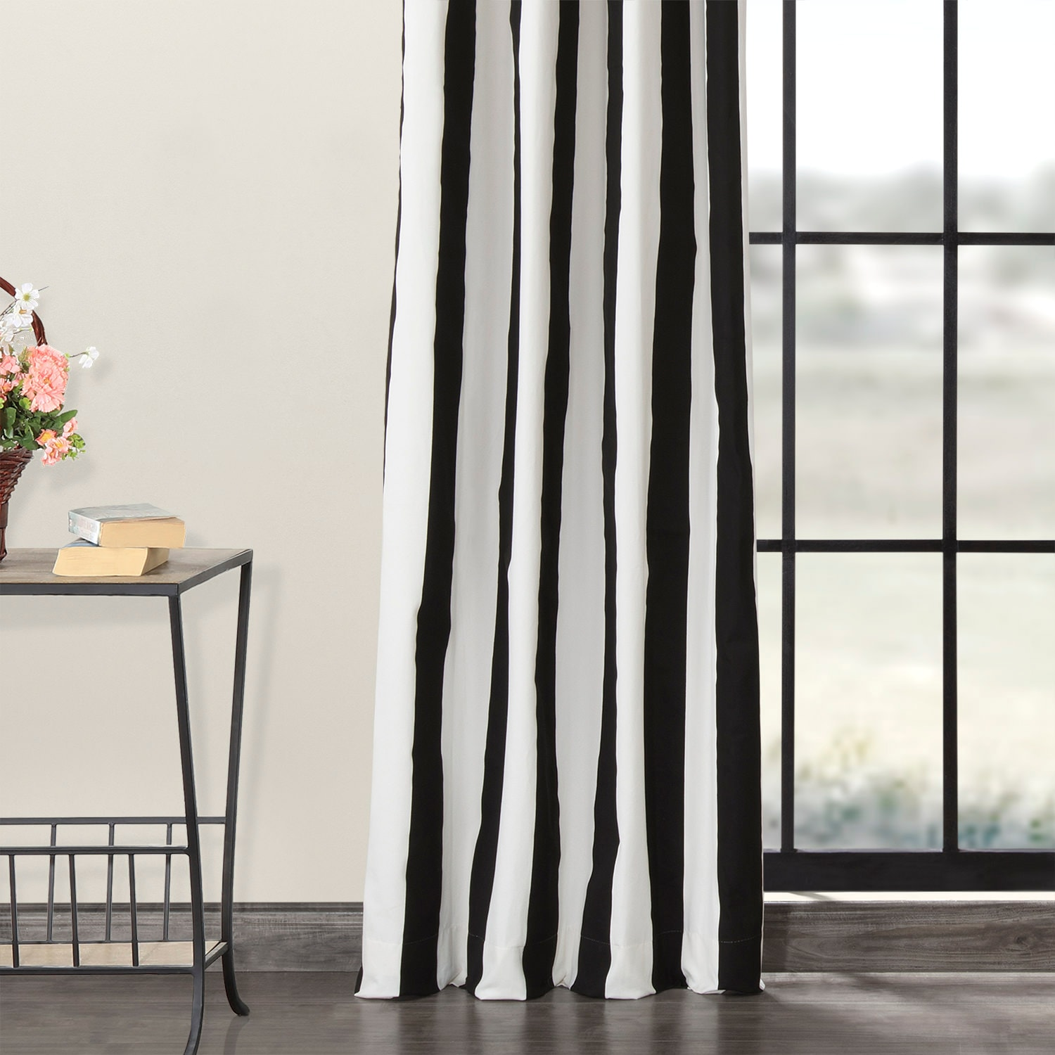 Cabana Black Grommet Printed Cotton Curtain