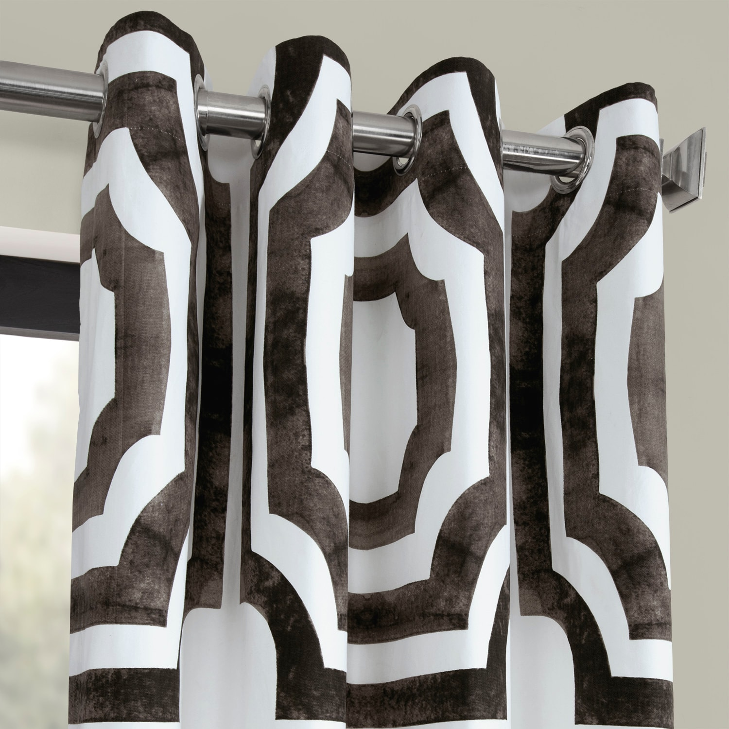 Mecca Brown Grommet Printed Cotton Curtain
