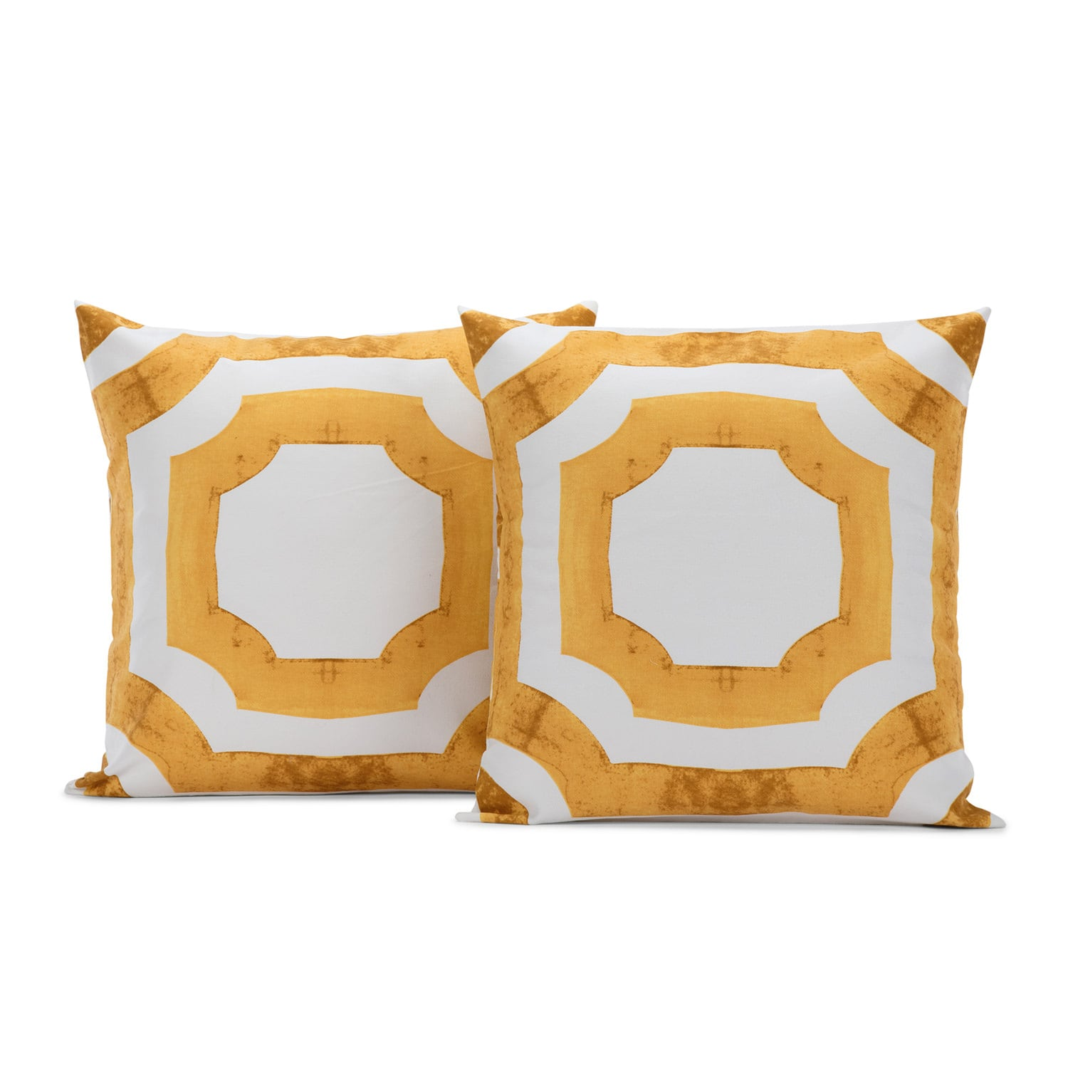 Mecca Gold Printed Cotton Cushion Covers - PAIR