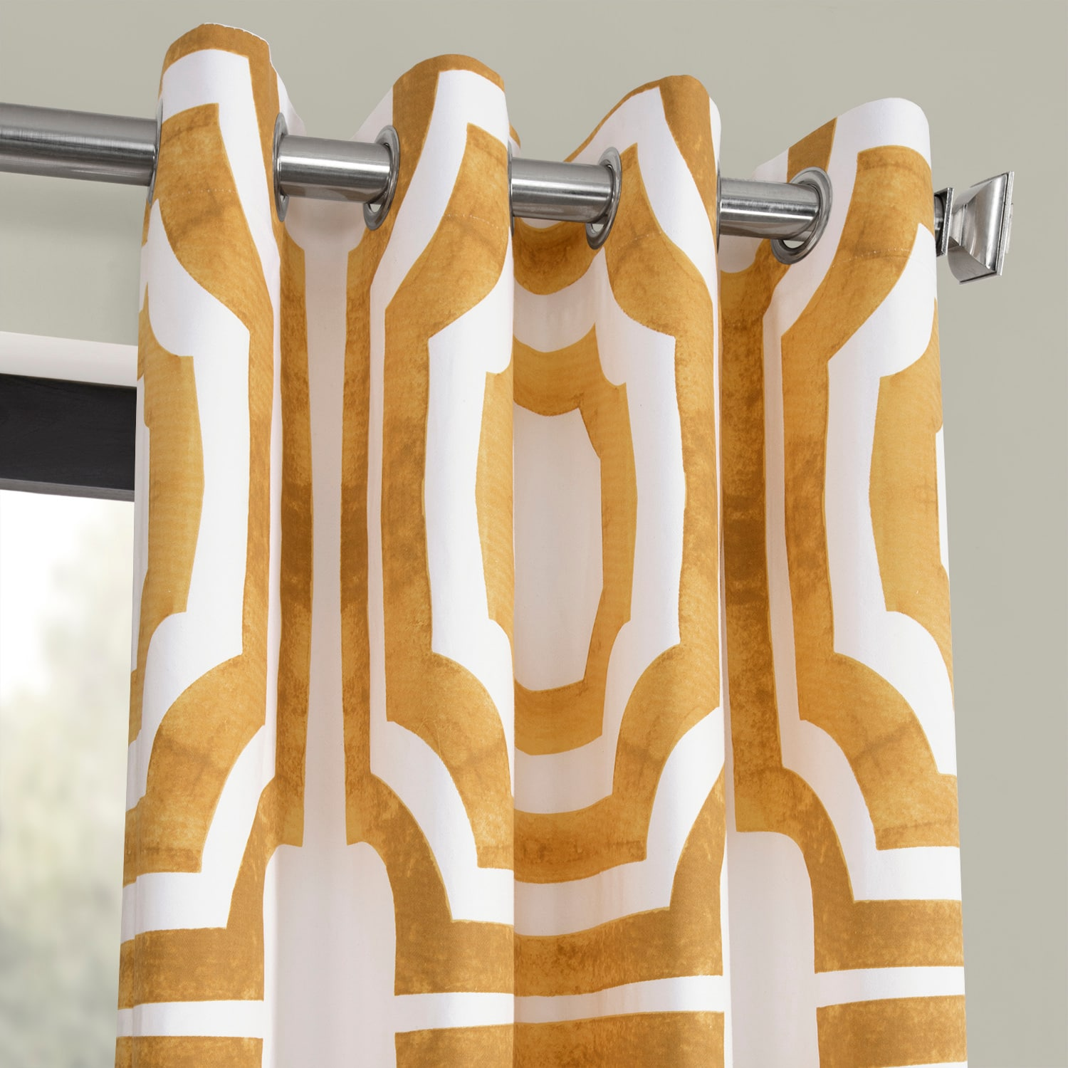 Mecca Gold Grommet Printed Cotton Curtain