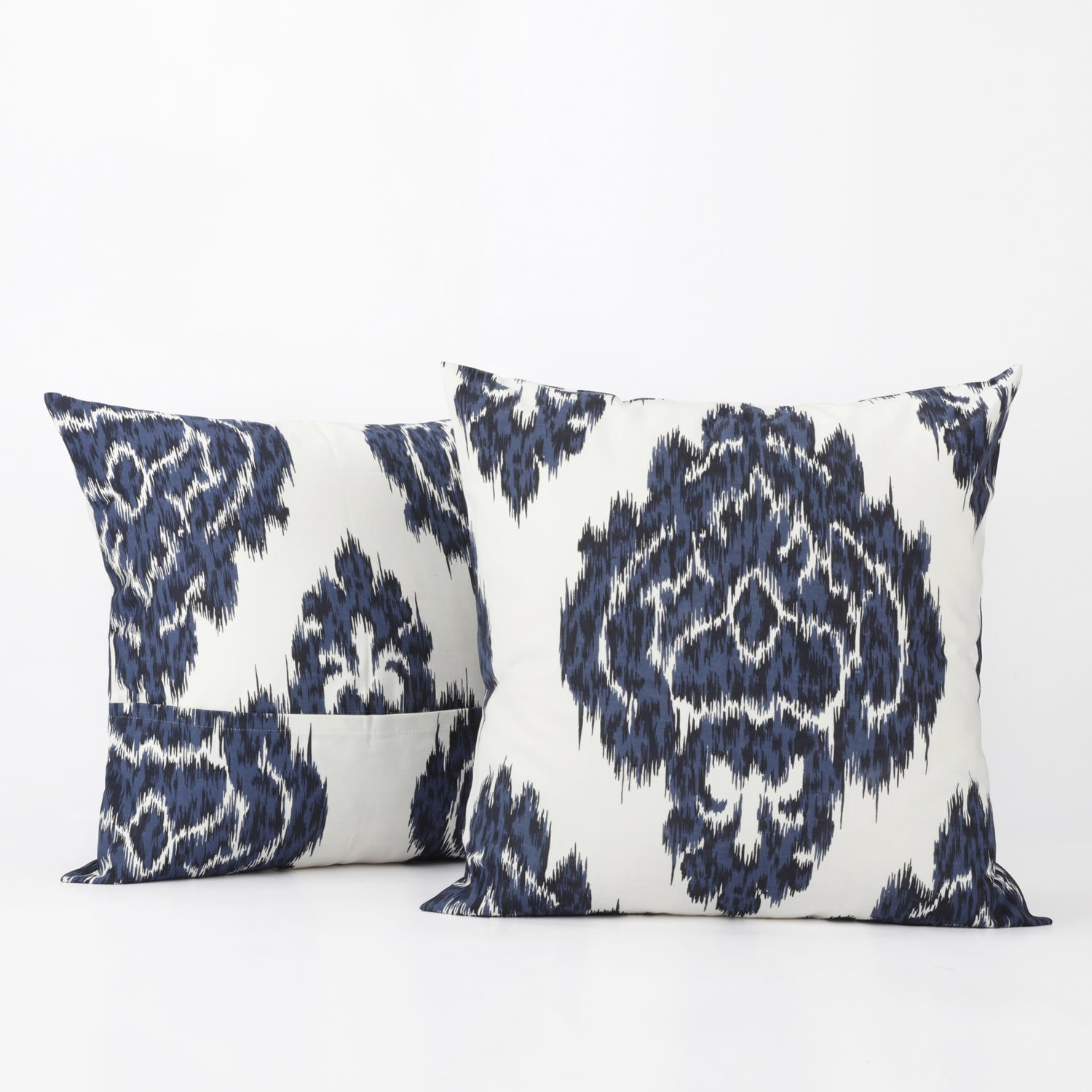 Ikat Blue Printed Cotton Cushion Cover (Pair)