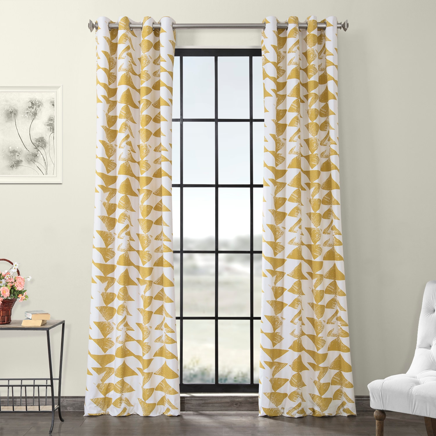 Triad Gold Grommet Printed Cotton Twill Curtain