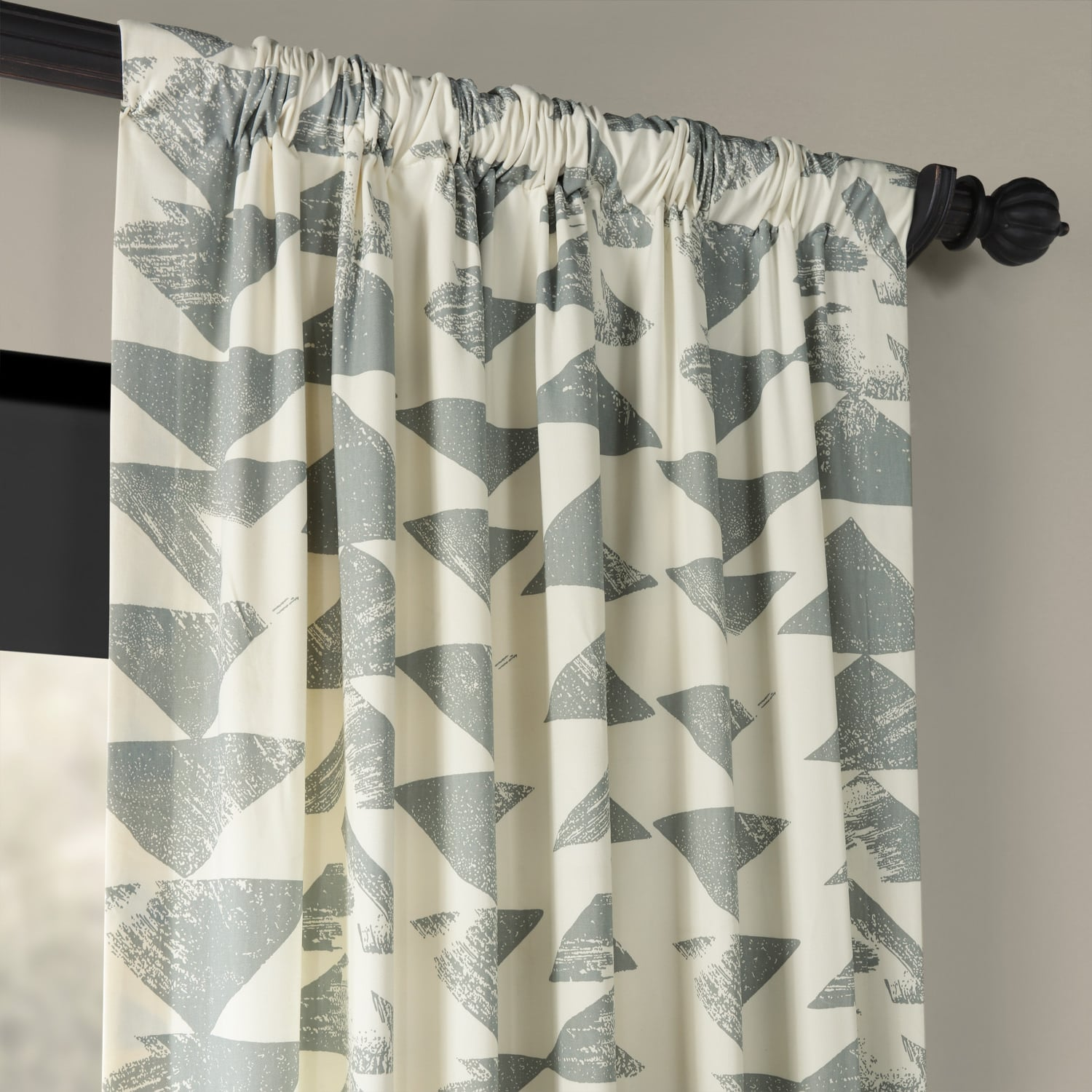 Triad Smoke Printed Cotton Twill Curtain