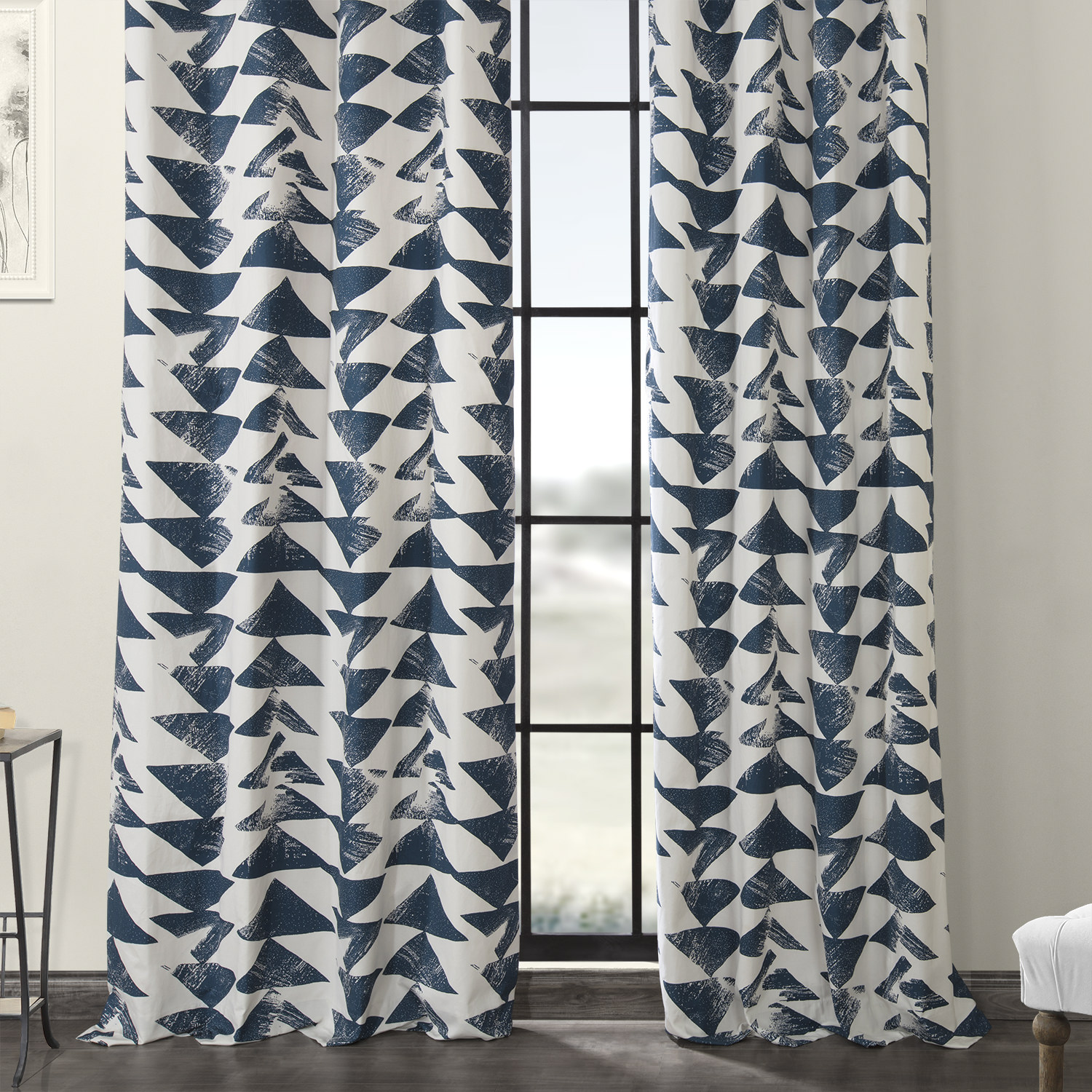 Triad Indigo Grommet Printed Cotton Twill Curtain
