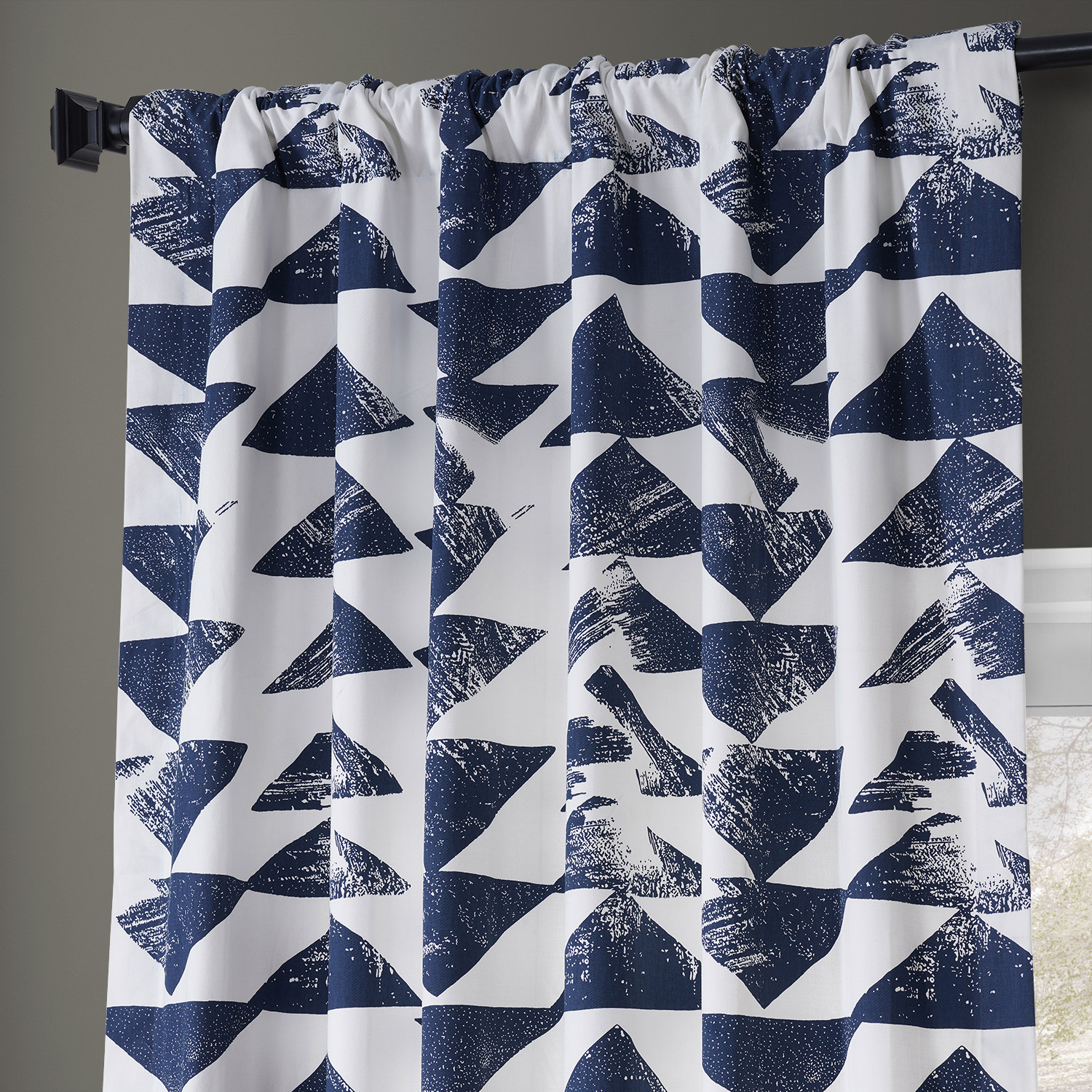 Triad Indigo Printed Cotton Twill Curtain