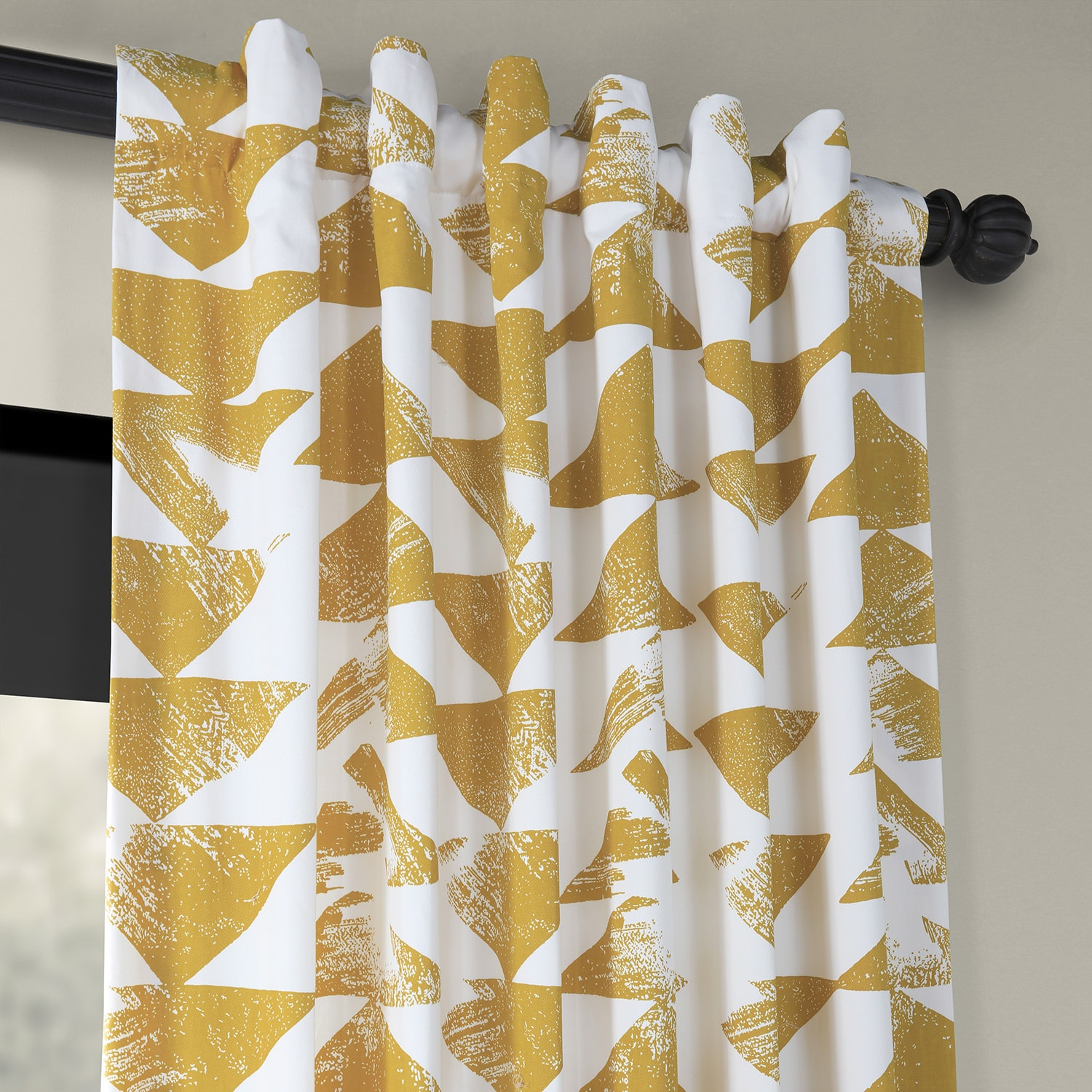 Triad Gold Printed Cotton Twill Curtain