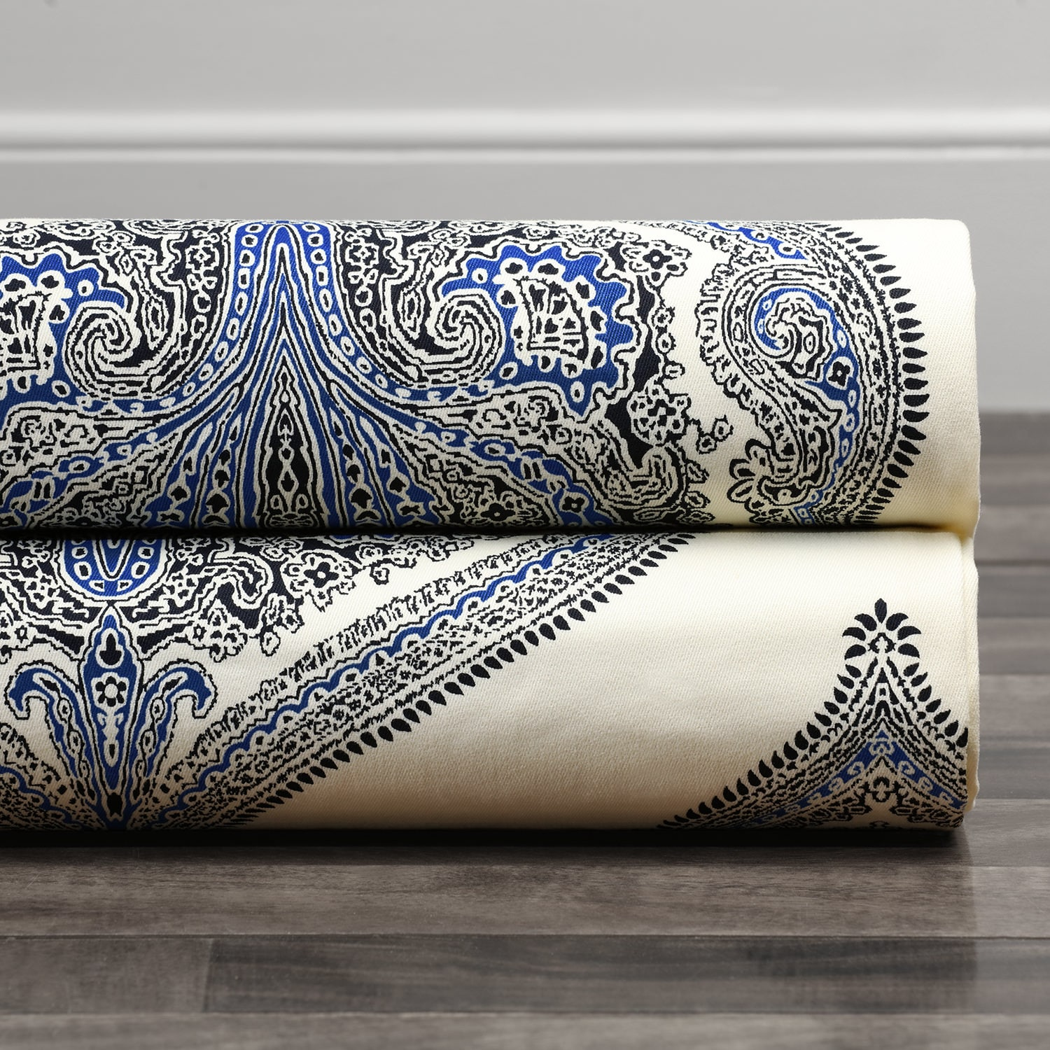 Arabesque Blue Printed Cotton Twill Fabric